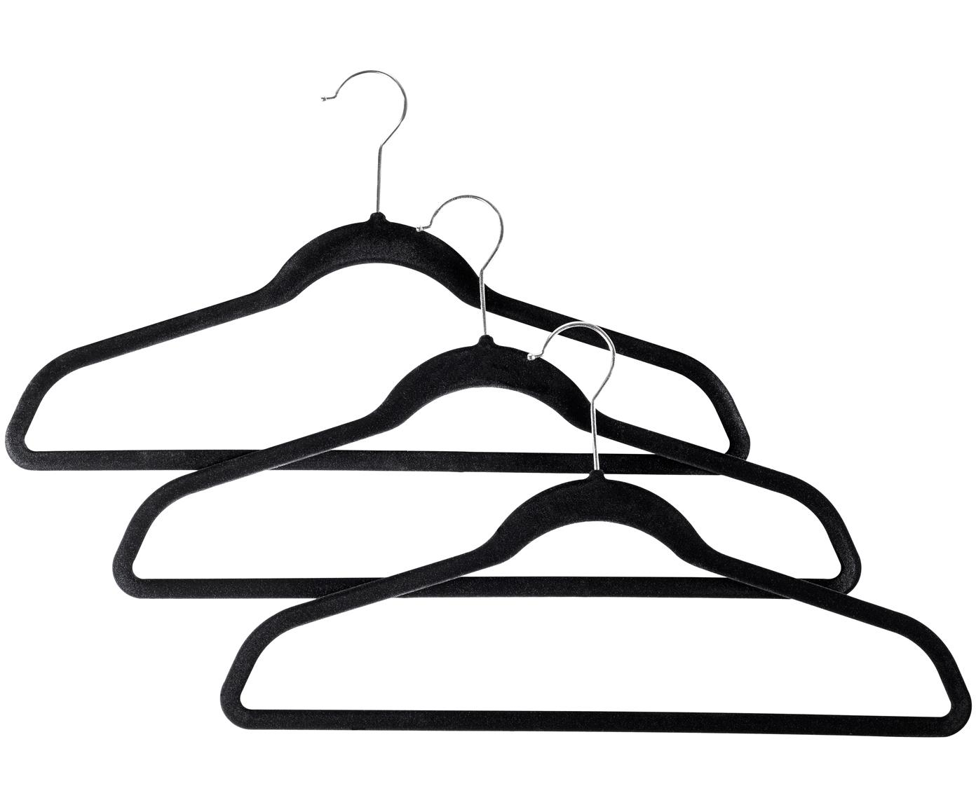 Kleiderbügel Black Velvet, 12 Stück, Haken: Metall, Bezug: Nylonbeflockung, Schwarz, 45 x 25 cm