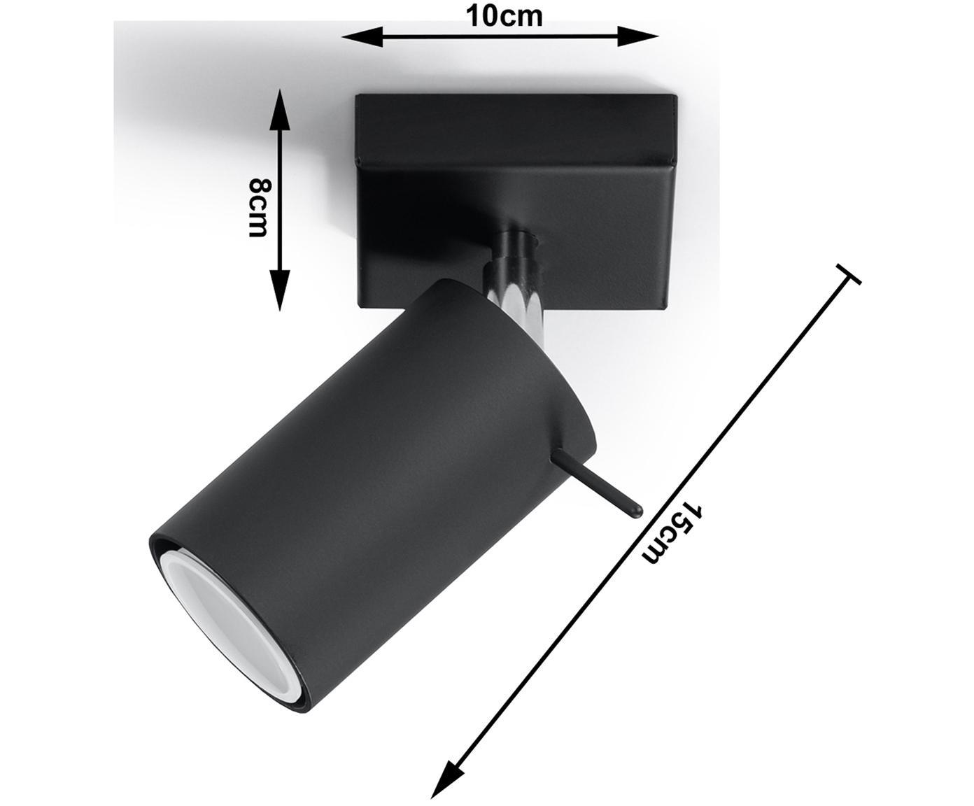 Applique en métal noir Etna, Noir