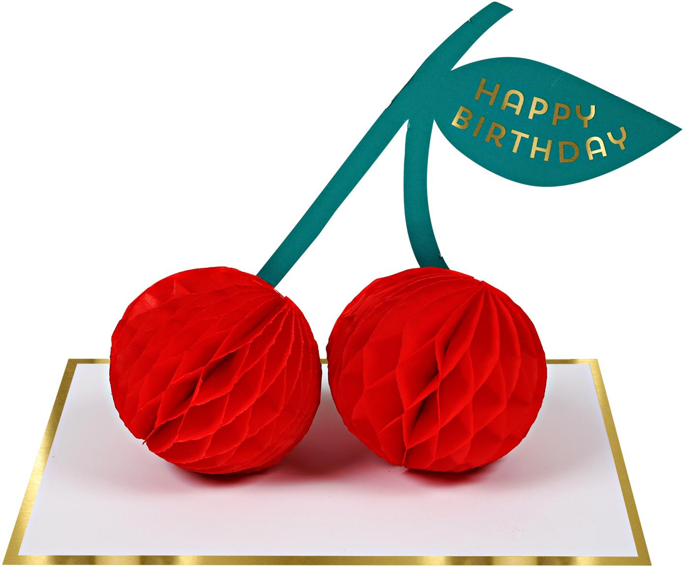 Tarjeta de cumpleaños Cherries, Papel, Blanco, dorado, rojo, verde, L 13 x An 19 cm