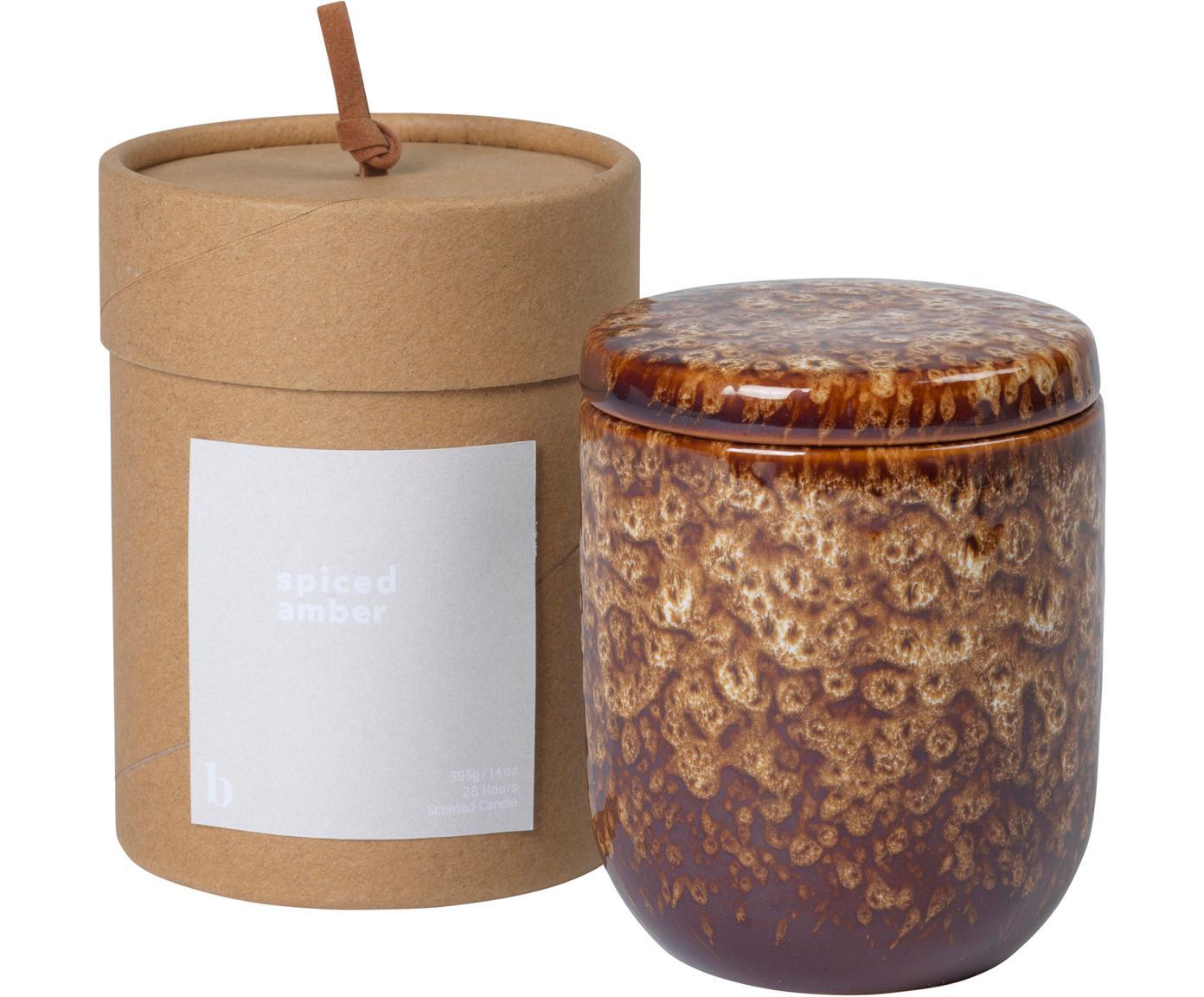 Vela perfumada Spiced Amber, Recipiente: cerámica, Marrón, Ø 8 x Al 9 cm