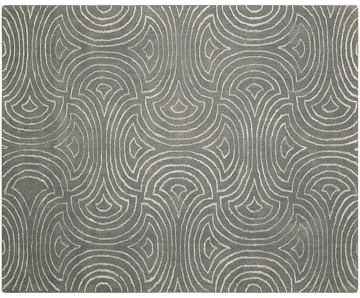 Handgetufteter Teppich Vita Illusion mit Hoch-Tief-Effekt, Flor: 90% Polyester, 10% Viskos, Moosgrün, B 245 x L 305 cm (Grösse L)