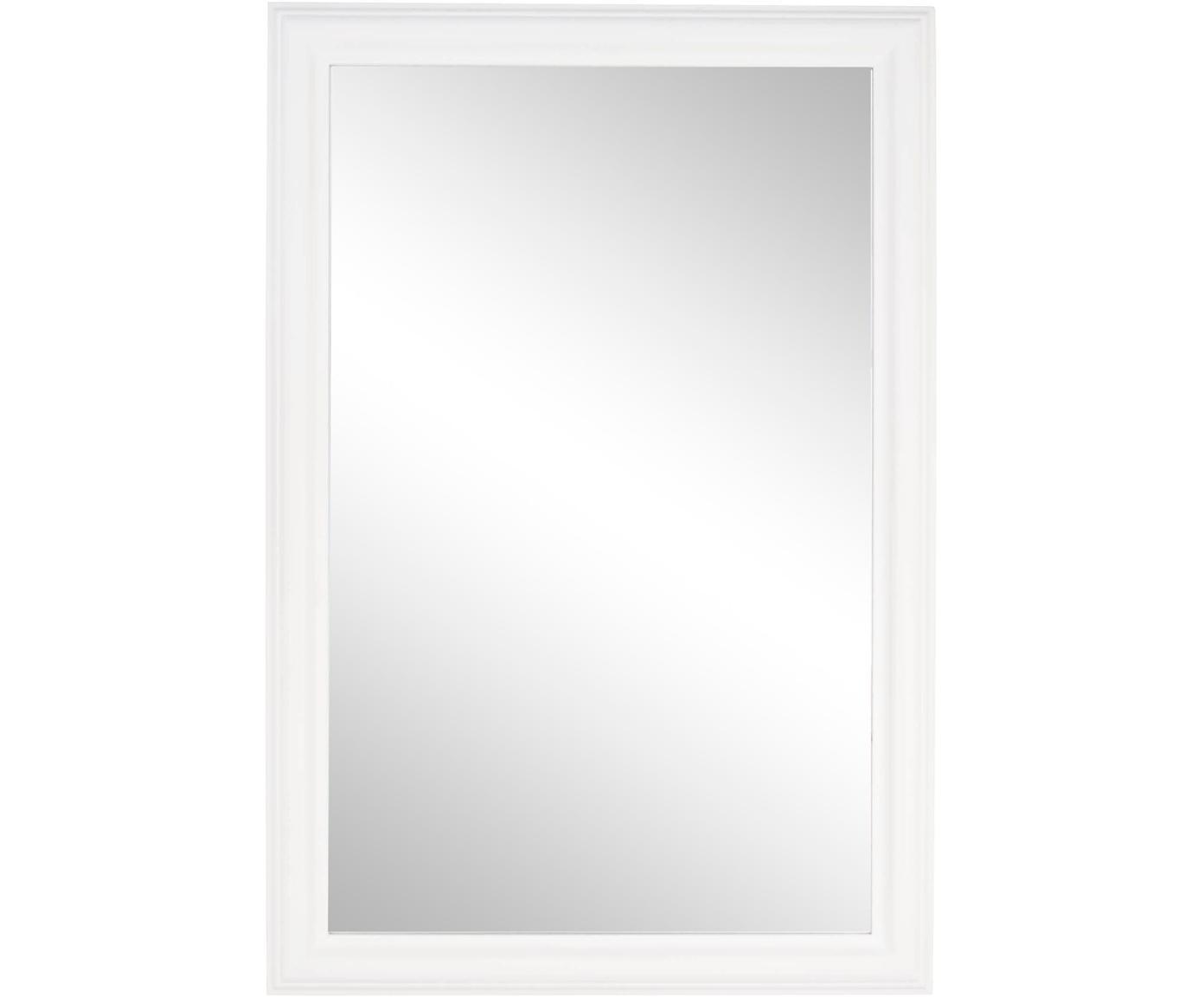 Rechthoekige wandspiegel Sanzio met witte houten lijst, Lijst: gecoat hout, Wit, 60 x 90 cm