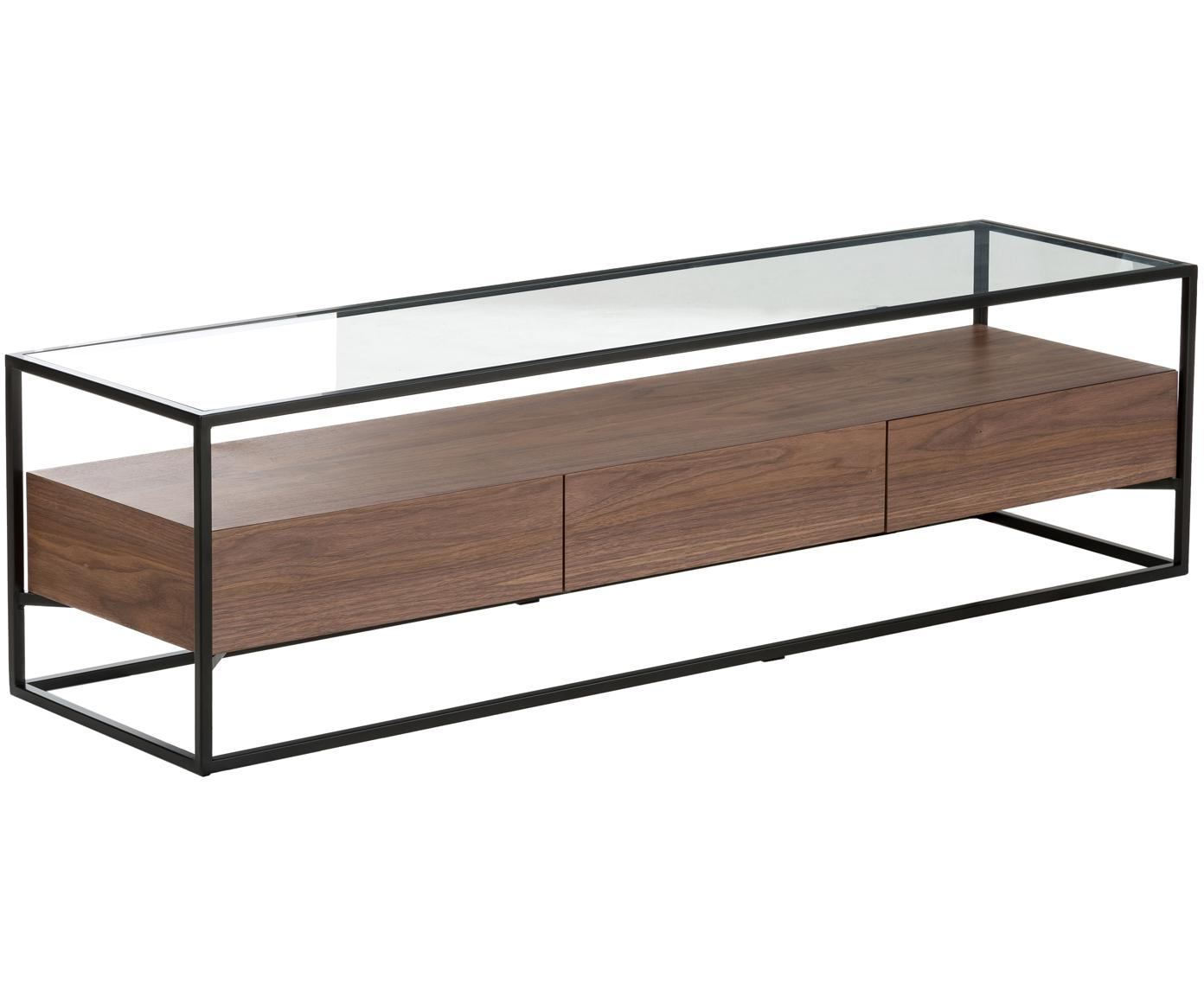 Mobile TV con piano in vetro Helix, Struttura: metallo verniciato a polv, Base e piano d'appoggio: vetro, Nero, marrone, Larg. 150 x Alt. 40 cm
