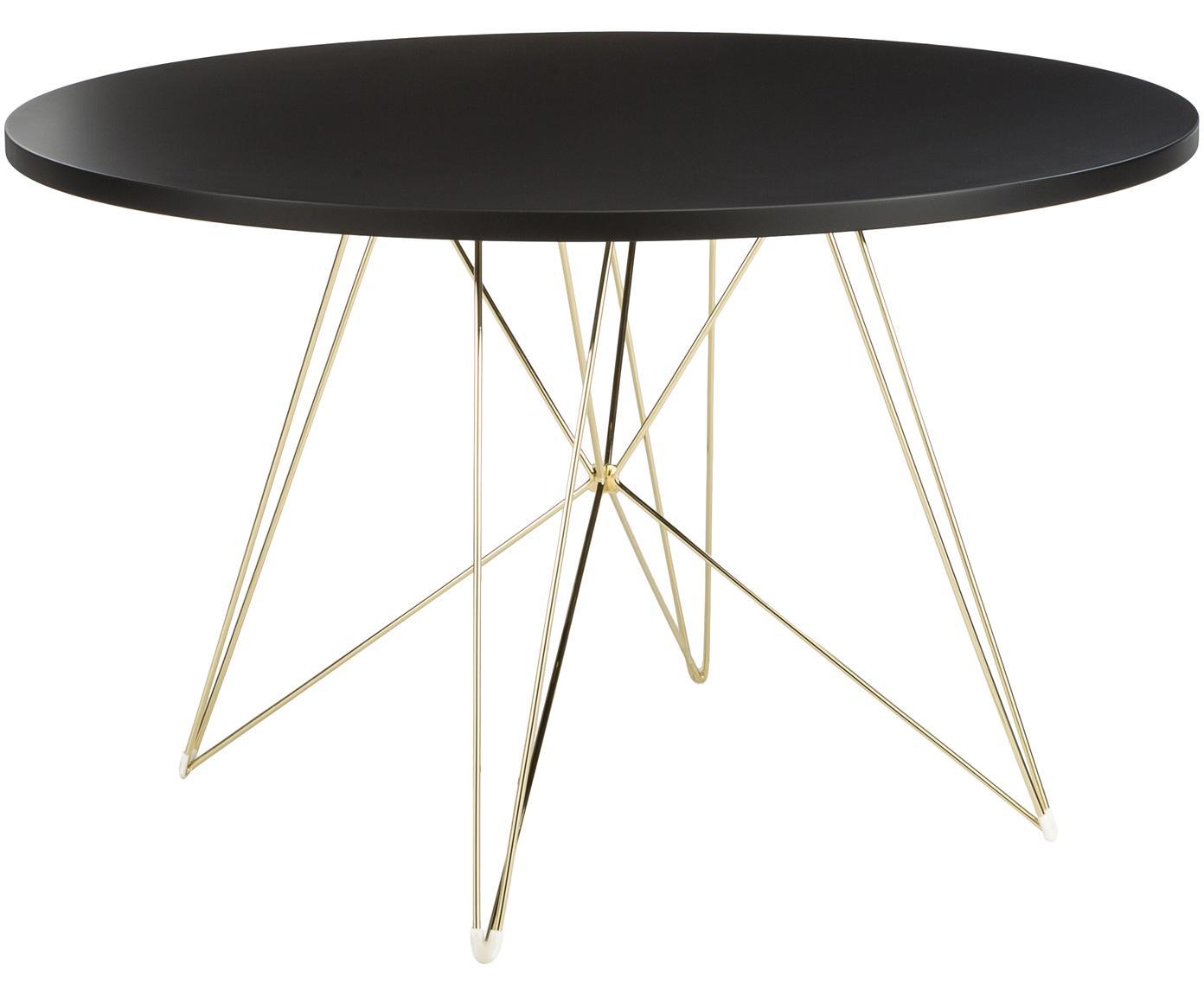 Tavolo rotondo con gambe a cavalletto XZ3, Piano d'appoggio: fibra a media densità con, Gambe: filo di acciaio ottonato, Ottone, Ø 120 x Alt. 74 cm