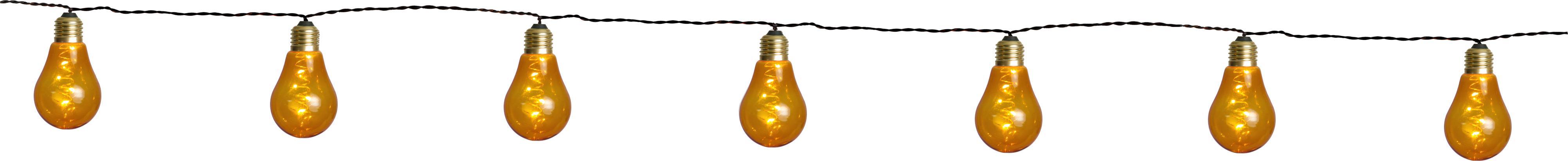 Guirnalda de luces LED Bulb, 360cm, Cable: plástico, Ámbar, dorado, negro, L 360 cm