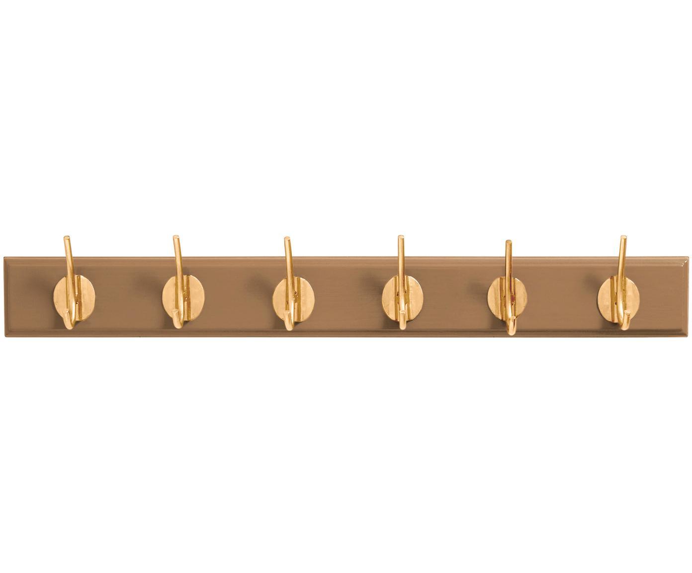 Gaderobenhaken Aoife mit Metall-Haken, Leiste: Mitteldichte Holzfaserpla, Haken: Messing, Kamelbraun, 60 x 7 cm