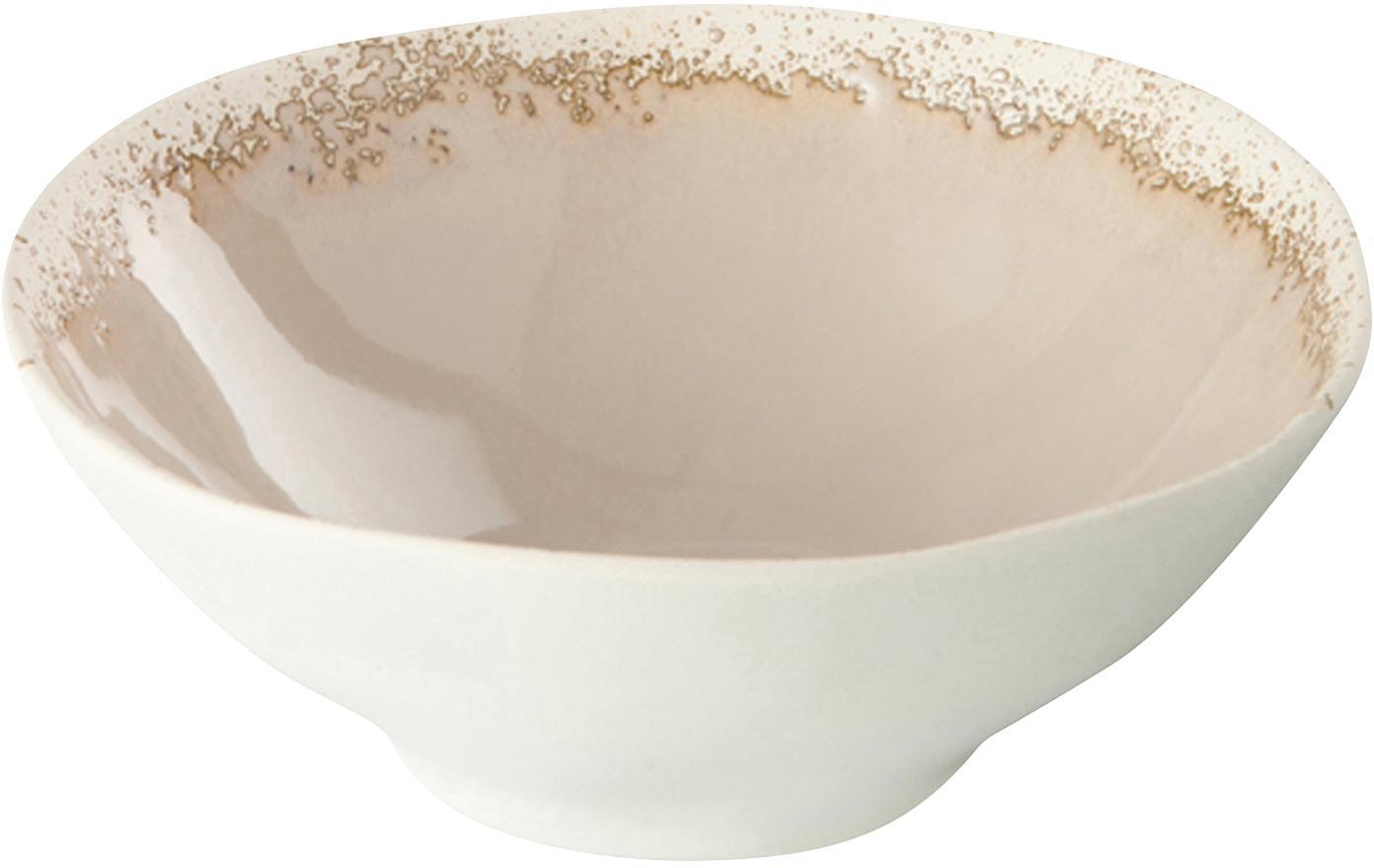 Schälchen Reyes mit effektvoller Glasur, 4 Stück, Keramik, Elfenbeinfarben, Ø 15 x H 6 cm