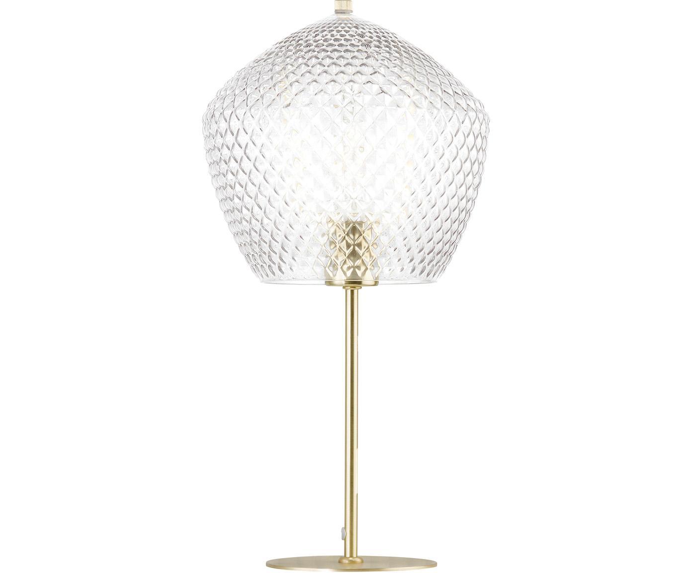 Lampada da tavolo con paralume in vetro Beatrice, Paralume: vetro, Base della lampada: metallo rivestito, Oro, trasparente, Ø 23 x Alt. 47 cm