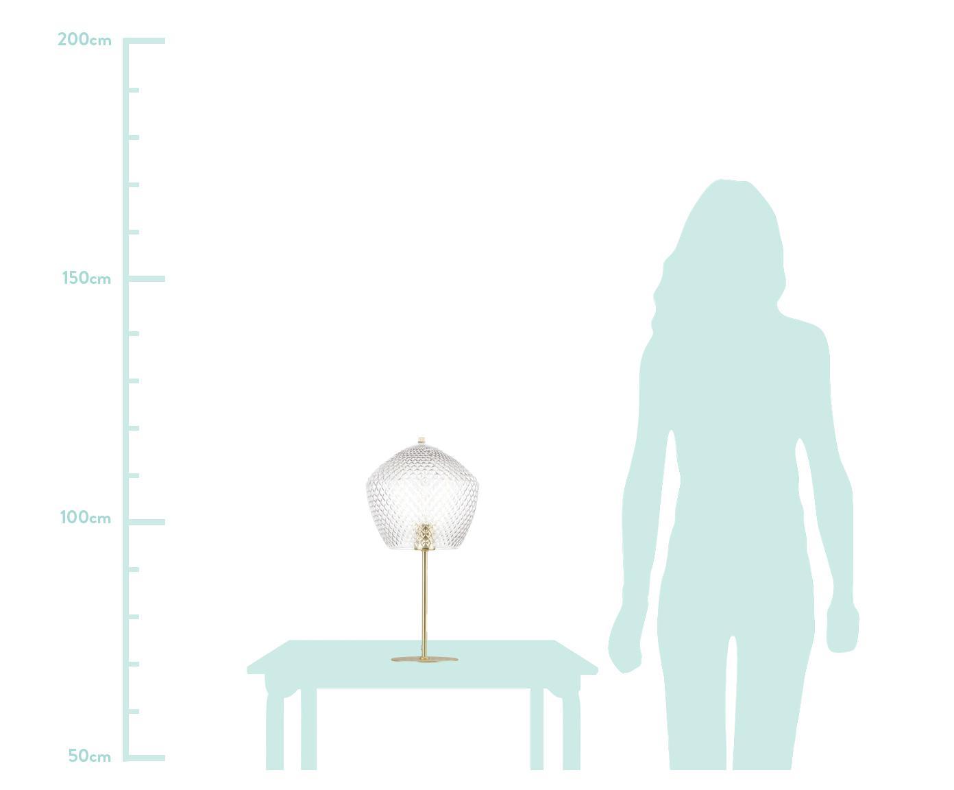 Tischlampe Beatrice mit Glasschirm, Lampenschirm: Glas, Lampenfuß: Metall, beschichtet, Gold, Transparent, Ø 23 x H 47 cm
