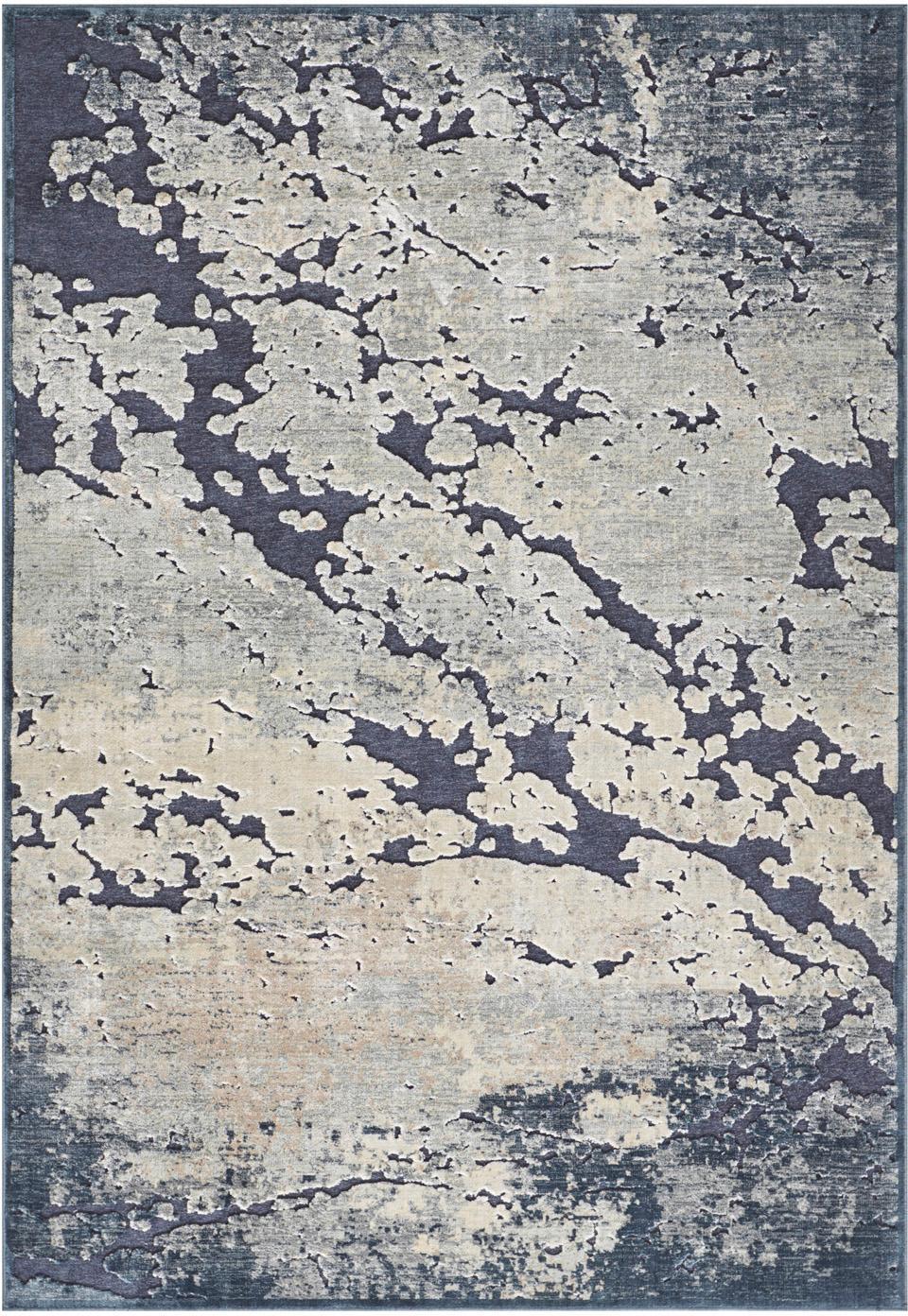 Viskose-Teppich Arroux mit Hoch-Tief-Effekt, Flor: 90%Viskose, 10%Polyeste, Dunkelblau, Beige, B 120 x L 170 cm (Grösse S)