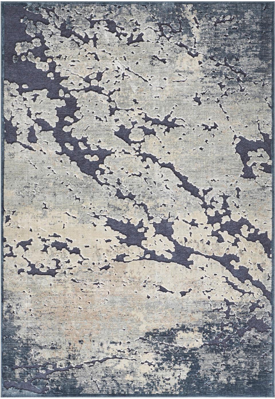 Tappeto in viscosa con effetto a rilievo Arroux, Retro: Latex, Blu scuro, beige, Larg. 120 x Lung. 170 cm (taglia S)
