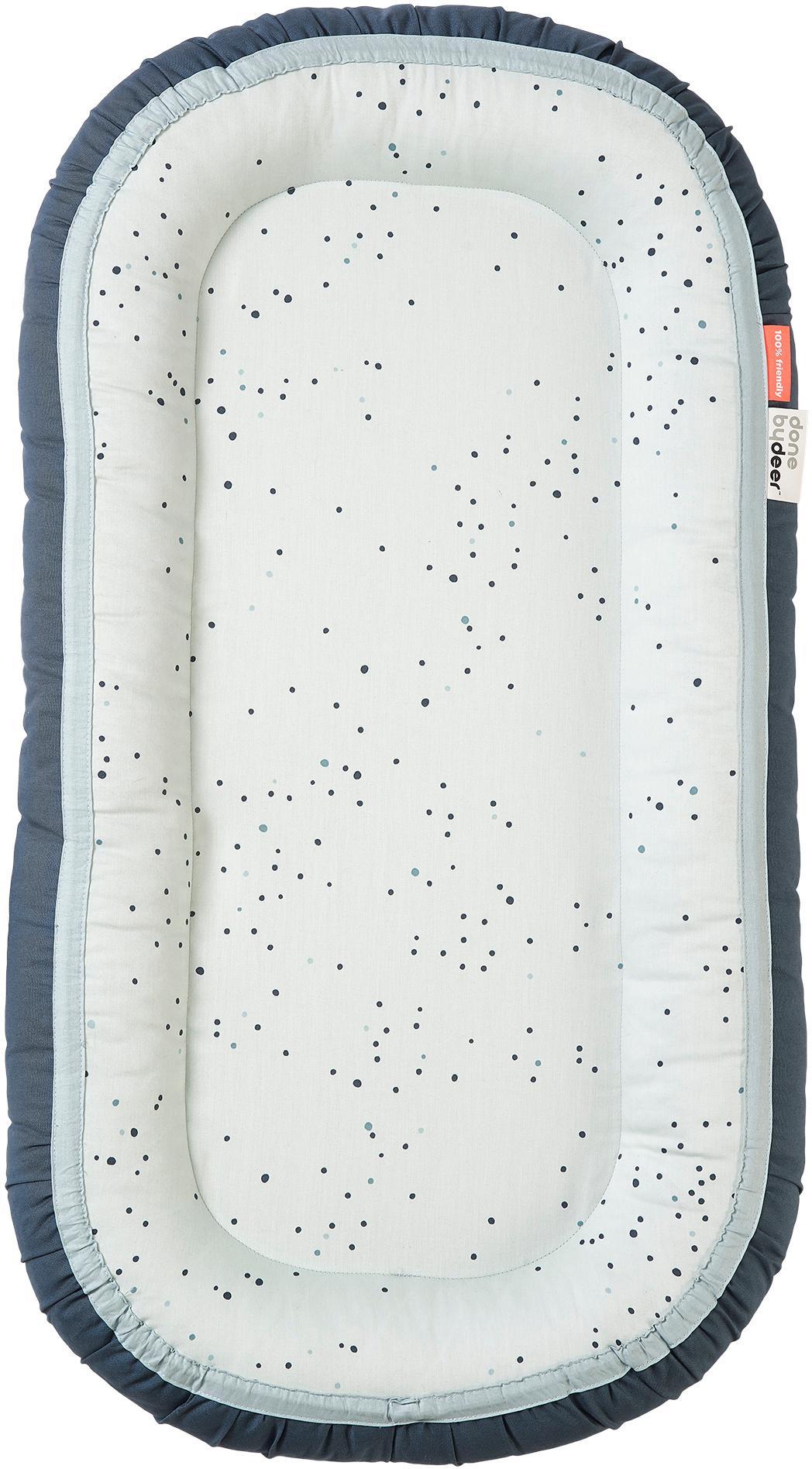 Babynest Dreamy Dots, Bezug: 100% Baumwolle, Oeko-Tex-, Matratze: 100% PU-Schaumstoff, Blau, 50 x 93 cm
