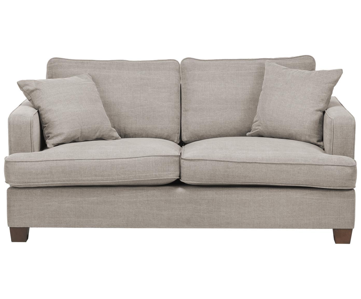 Sofá grande Warren (2plazas), Estructura: madera, Tapizado: 60%algodón, 40%lino La , Patas: madera negra, Arena gris, An 178 x Al 85 cm