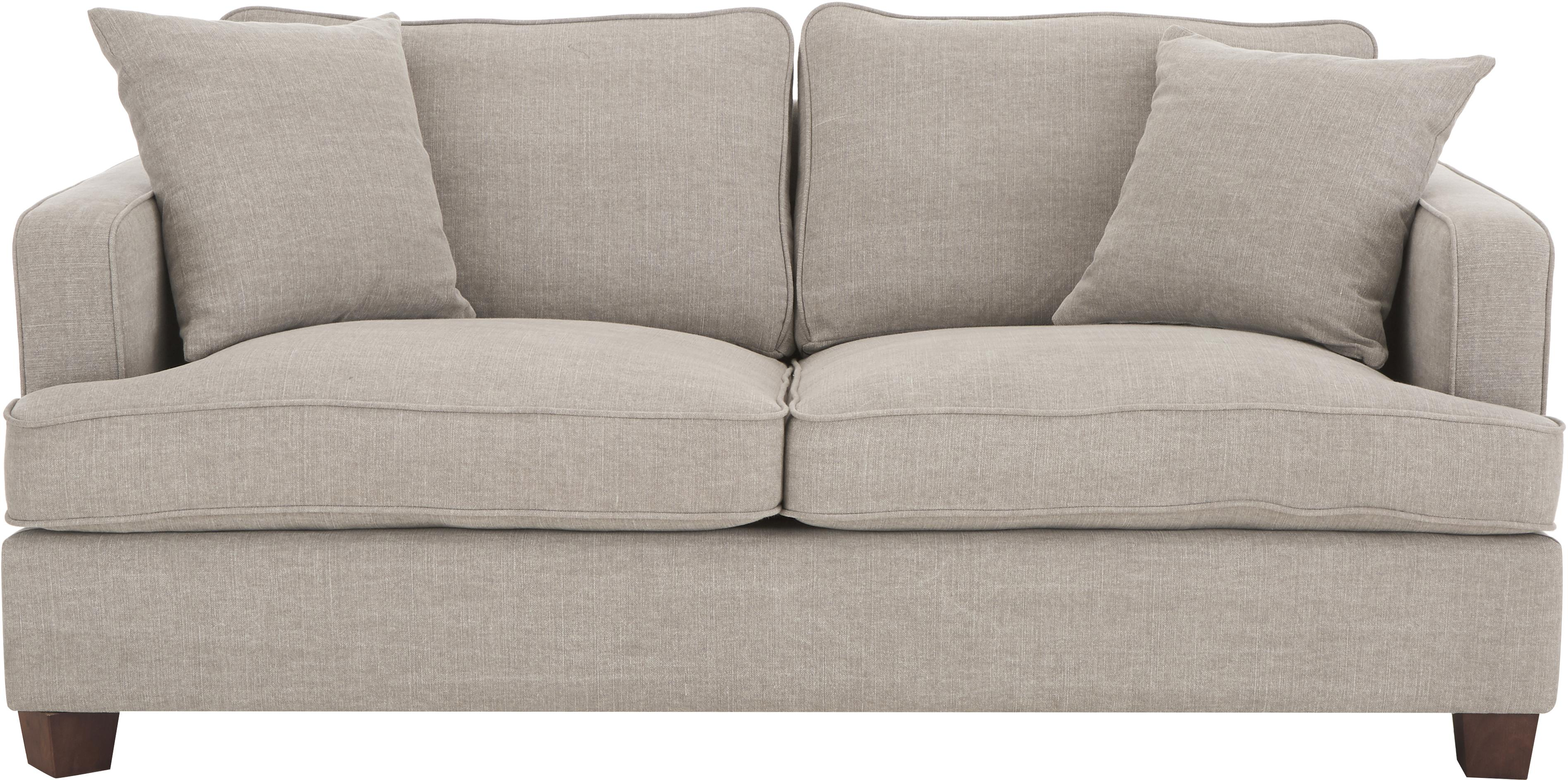 Big Sofa Warren (2-Sitzer), Gestell: Holz, Bezug: 60% Baumwolle, 40% Leinen, Füße: Schwarzholz, Webstoff Sandgrau, 178 x 85 cm