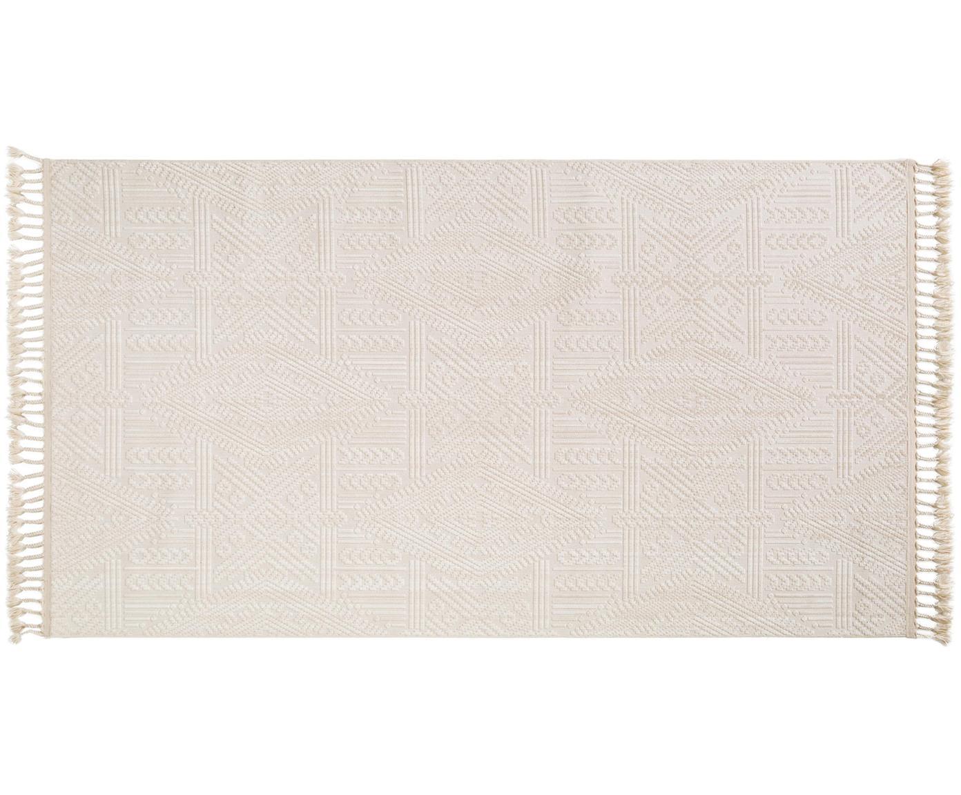 Alfombra texturizada Laila Tang, Parte superior: poliéster, Reverso: algodón, Crema, An 80 x L 150 cm (Tamaño XS)