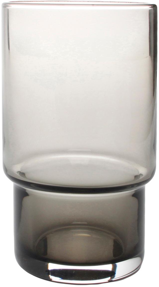 Waterglazen Secrets in grijs, 4 stuks, Glas, Grijs, transparant, Ø 7 x H 12 cm