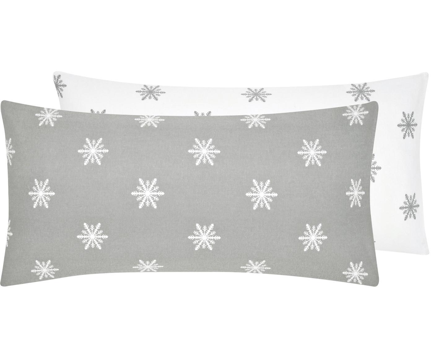 Flanell-Wendekissenbezüge Alba mit Schneeflocken, 2 Stück, Webart: Flanell Flanell ist ein s, Hellgrau, Weißweiß, 40 x 80 cm