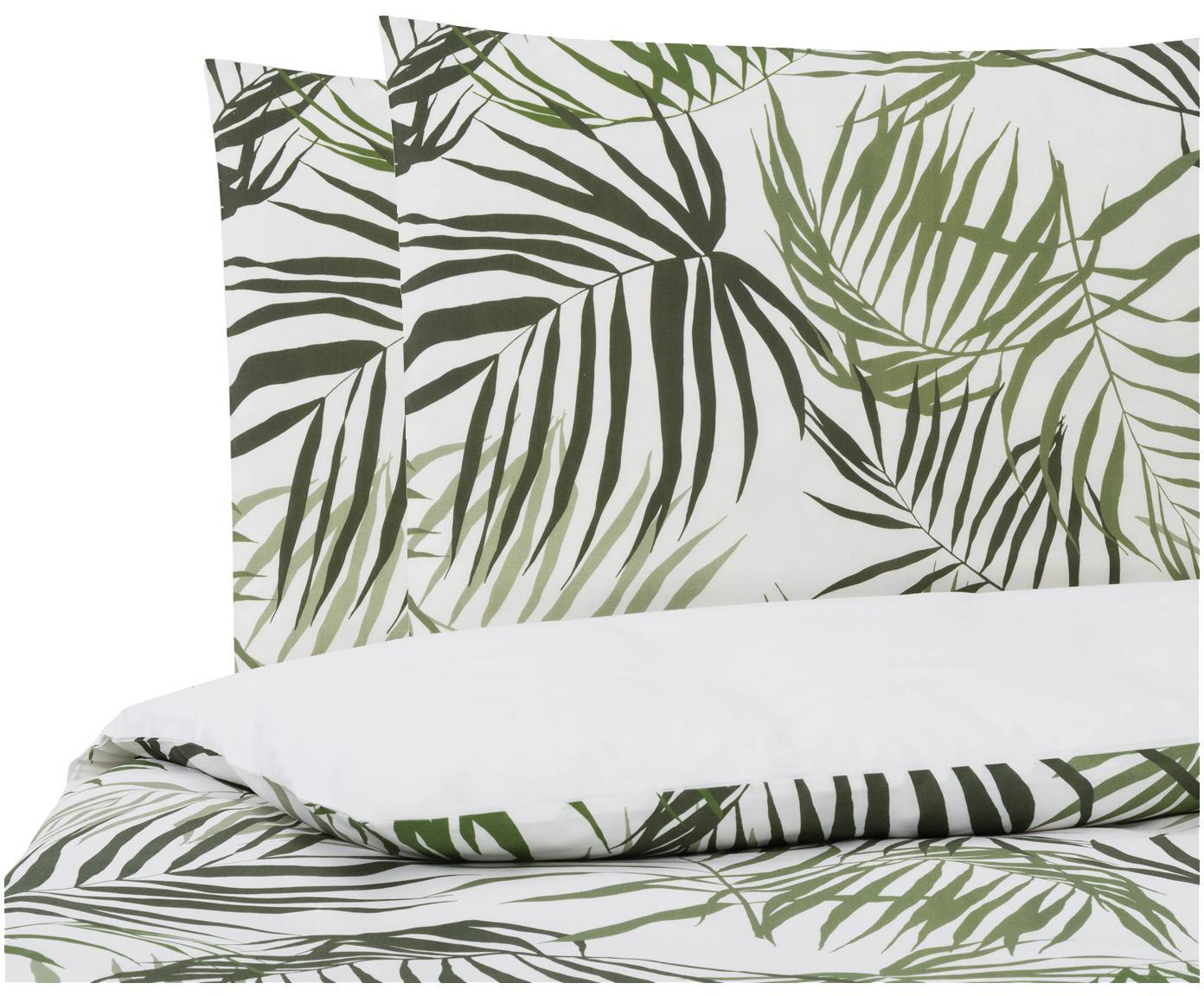 Dubbelzijdig dekbedovertrek Dalor, Katoen, Bovenzijde: groen, wit. Onderzijde: wit, 240 x 220 cm