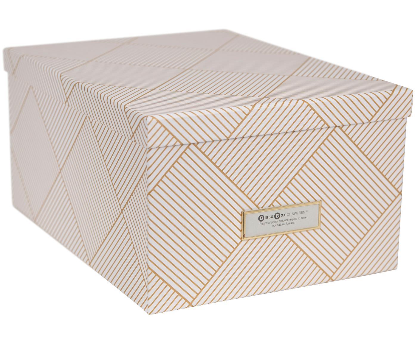 Scatola con coperchio Gustav, Scatola: solido, cartone laminato, Dorato , bianco, Larg. 30 x Alt. 15 cm