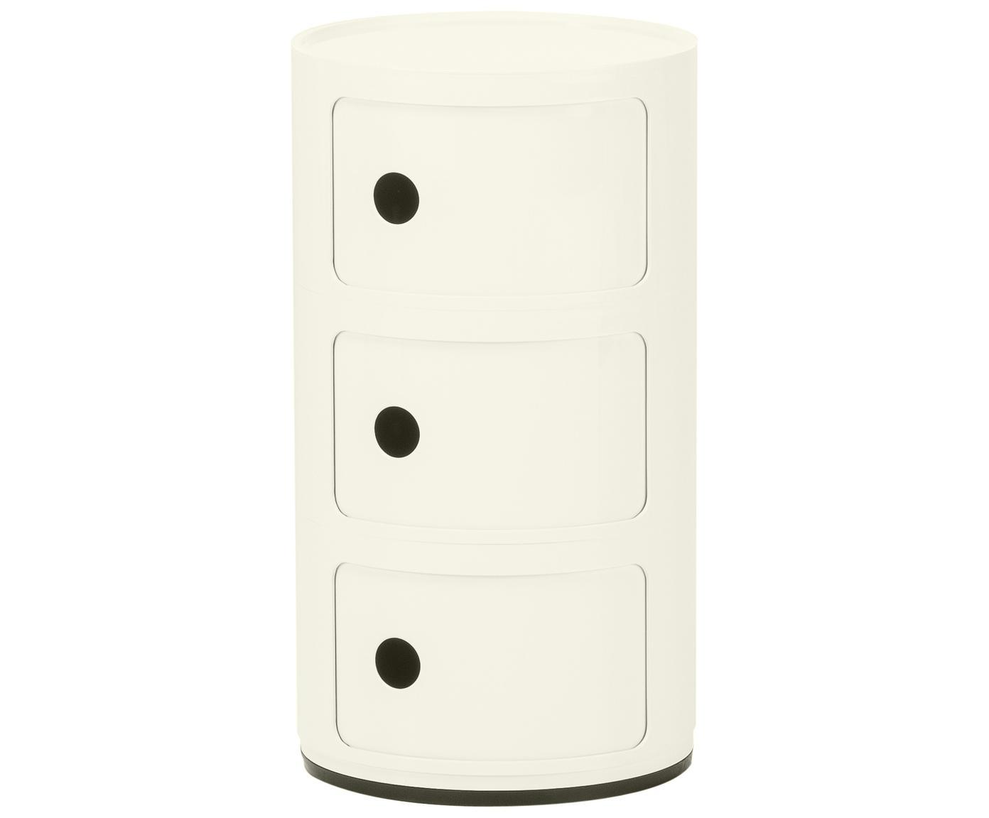Stolik pomocniczy Componibile, Tworzywo sztuczne, Blat: transparentny Boki i rama: biały, Ø 32 x W 59 cm