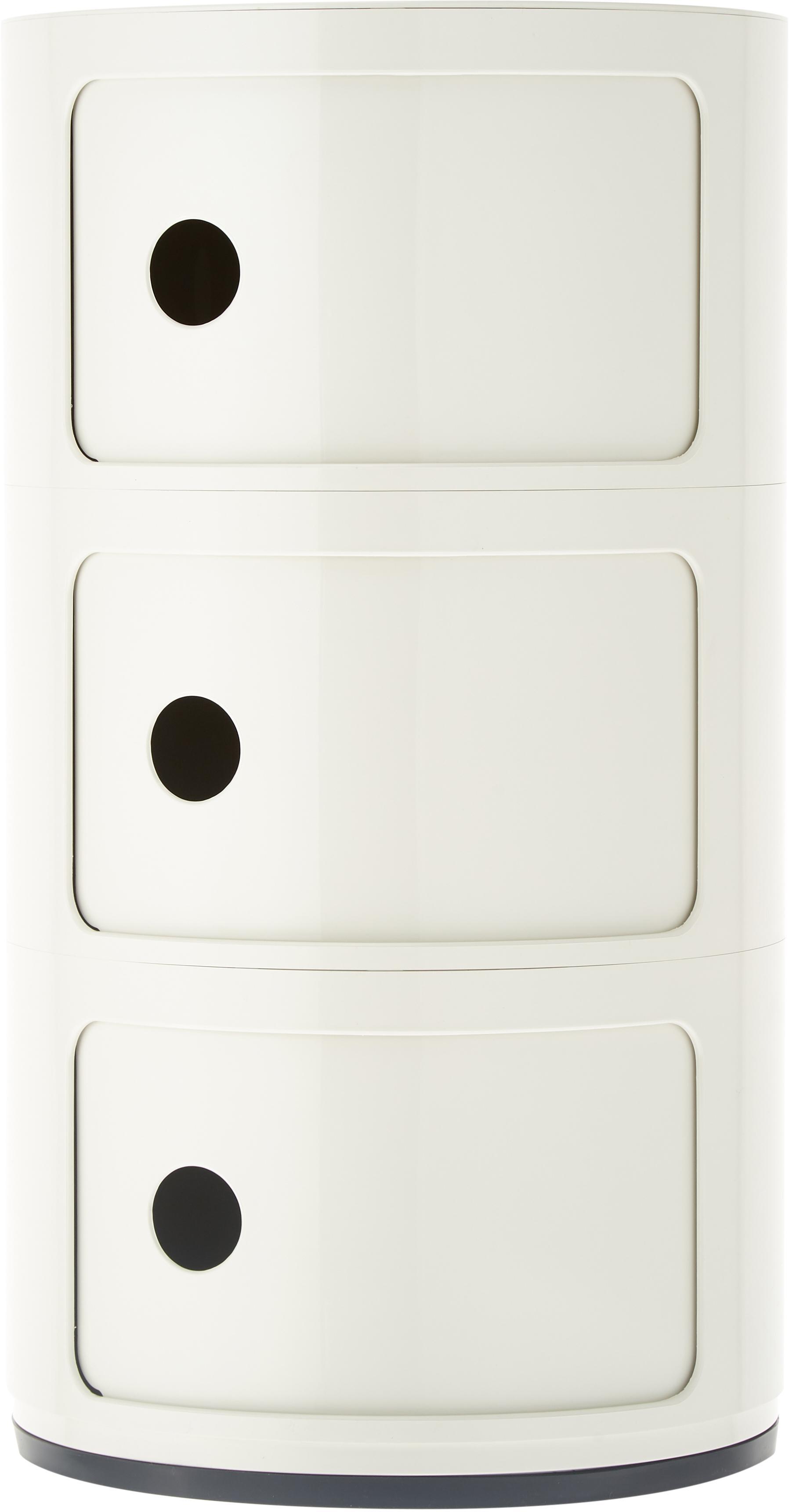 Design Container Componibili 3 Fächer, Kunststoff, Weiß, Ø 32 x H 59 cm