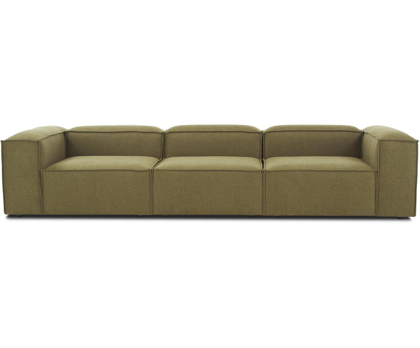 Modulaire bank Lennon (4-zits), Bekleding: 100% polyester, Frame: massief grenenhout, multi, Poten: kunststof, Geweven stof groen, B 326 x D 119 cm