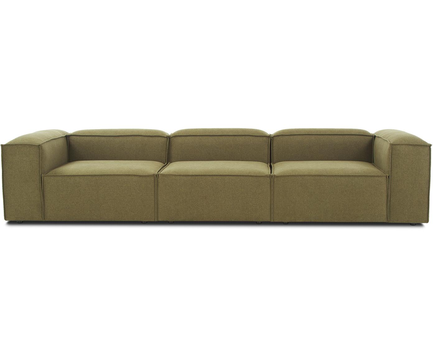 Modulares Sofa Lennon (4-Sitzer), Bezug: 100% Polyester 35.000 Sch, Gestell: Massives Kiefernholz, Spe, Füße: Kunststoff, Webstoff Grün, B 326 x T 119 cm