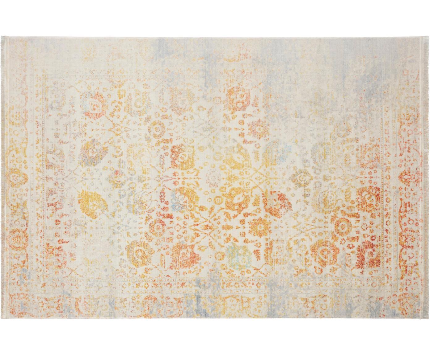 Vintage Teppich Menga mit bunten Ornamenten, Flor: 60%Polyester, 40%Baumwo, Mehrfarbig, B 120 x L 180 cm (Grösse S)