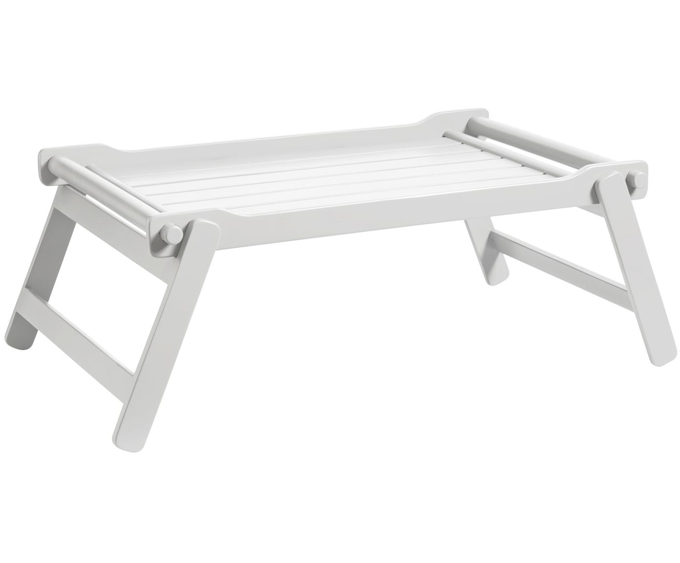 Klappbares Holz-Serviertablett Bed, Mahagoniholz, Polyurethan lackiert, Weiss , B 58 x T 36 cm