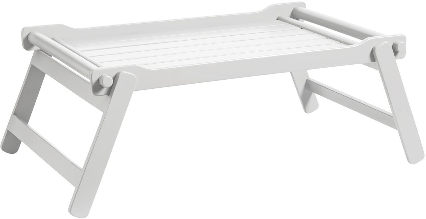 Klappbares Holz-Serviertablett Bed, Mahagoniholz, Polyurethan lackiert, Weiß , B 58 x T 36 cm
