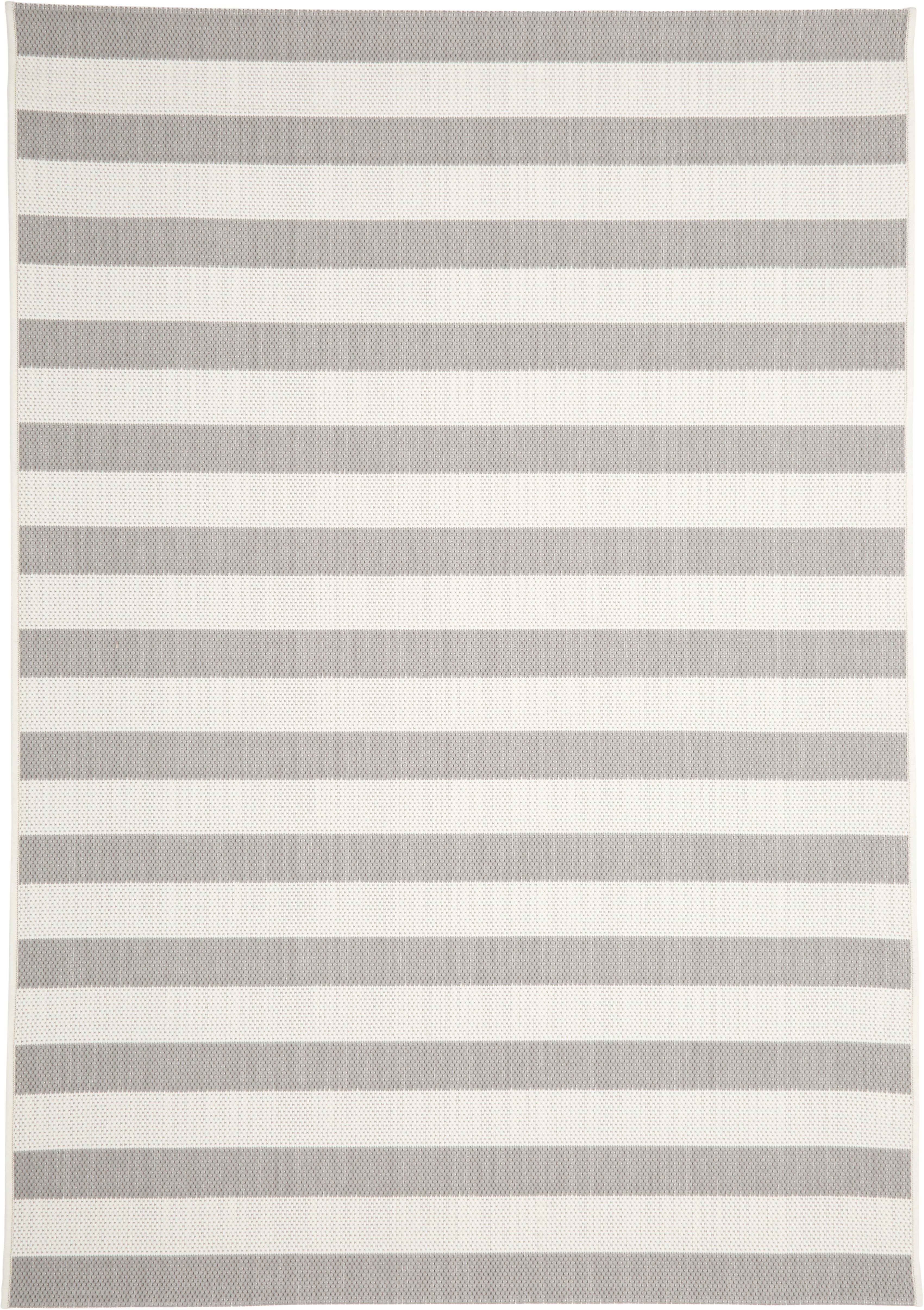 Gestreept in- & outdoor vloerkleed Axa in grijs/wit, Bovenzijde: polypropyleen, Onderzijde: polyester, Crèmewit, grijs, B 160 x L 230 cm (maat M)