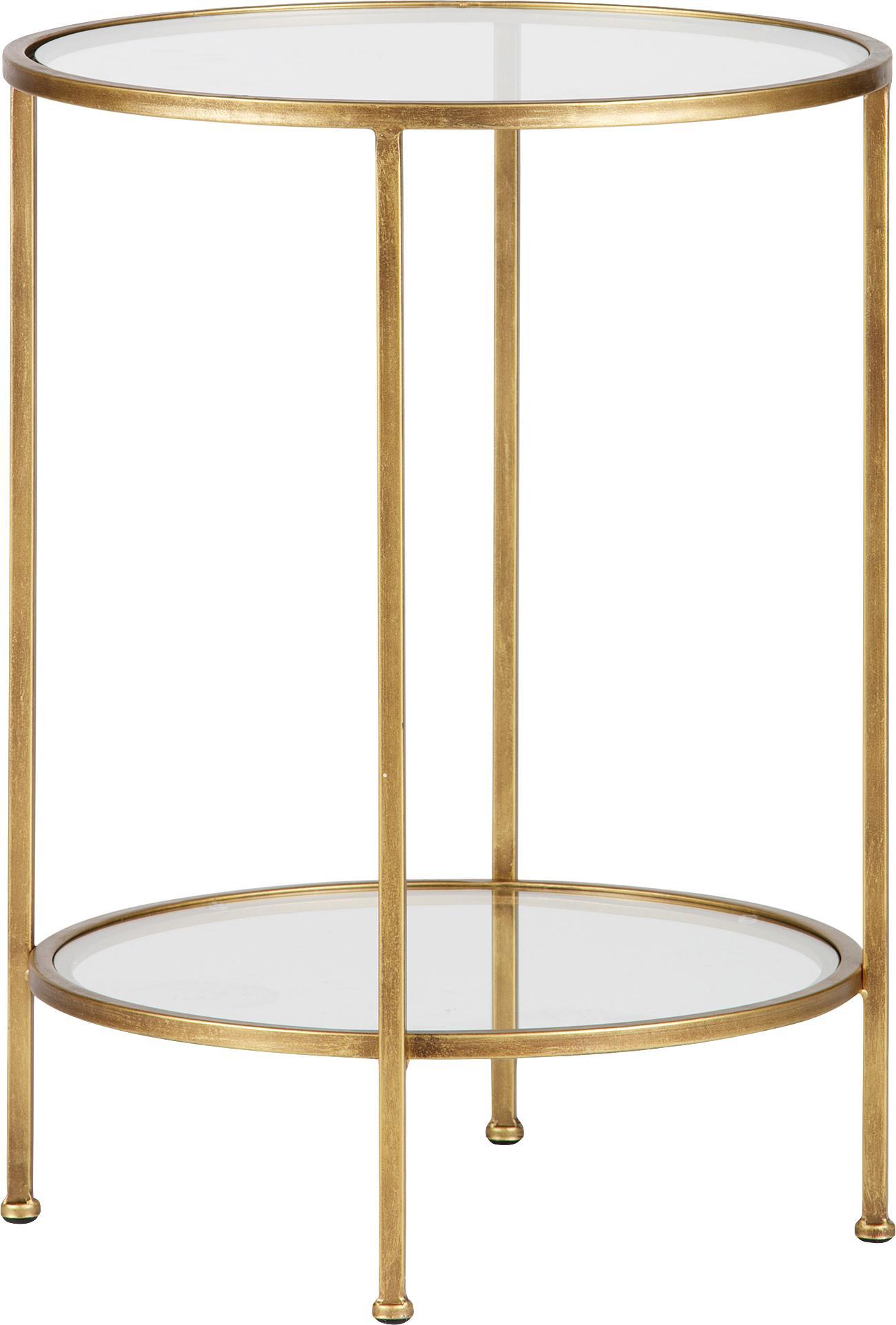 Bijzettafel met glazen tafelblad Goddess in antieke afwerking, Frame: vermessingd metaal met an, Frame: messingkleurig, antieke afwerking, plateau en tafelblad: transparant, Ø 46 x H 61 cm