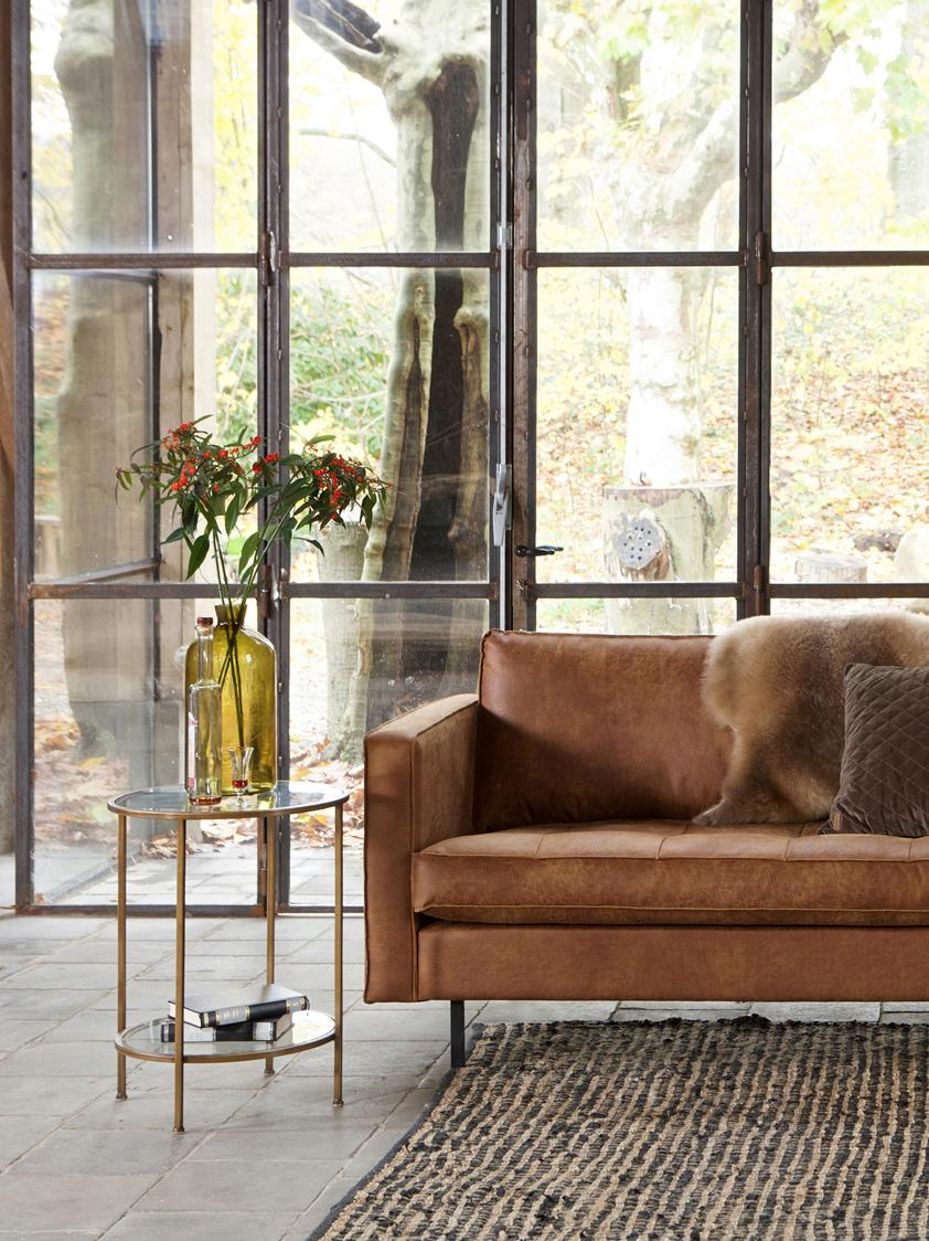 Tavolino con piano in vetro Goddess, Struttura: metallo ottonato con effe, Struttura: ottone, effetto vintage piano inferiore e piano d'appoggio: trasparen, Ø 46 x Alt. 61 cm
