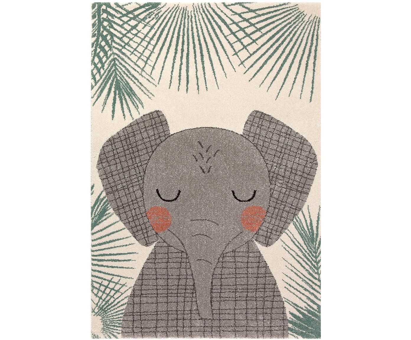 Tappeto in polipropilene con elefante Junko, Polipropilene, Beige, verde, grigio, Larg. 120 x Lung. 170 cm