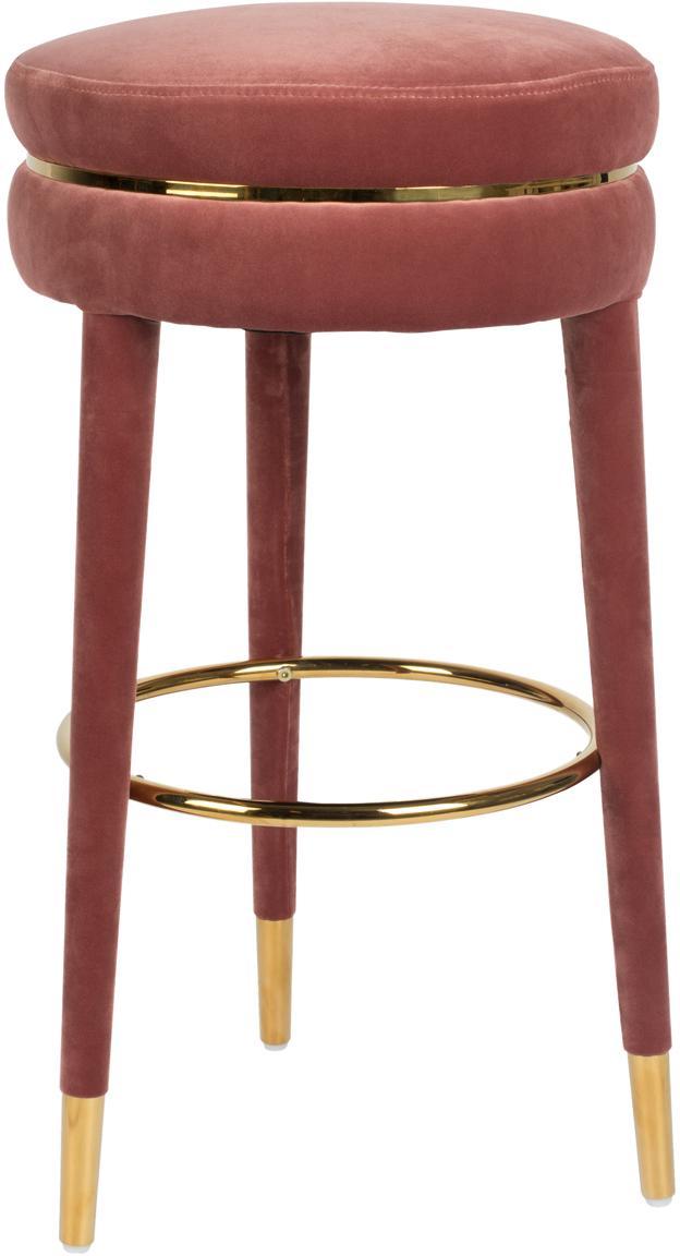 Taburete de bar de terciopelo I Am Not A Macaron, Tapizado: terciopelo de poliéster 3, Estructura: madera de caucho tapizada, Rosa, Ø 41 x Al 78 cm