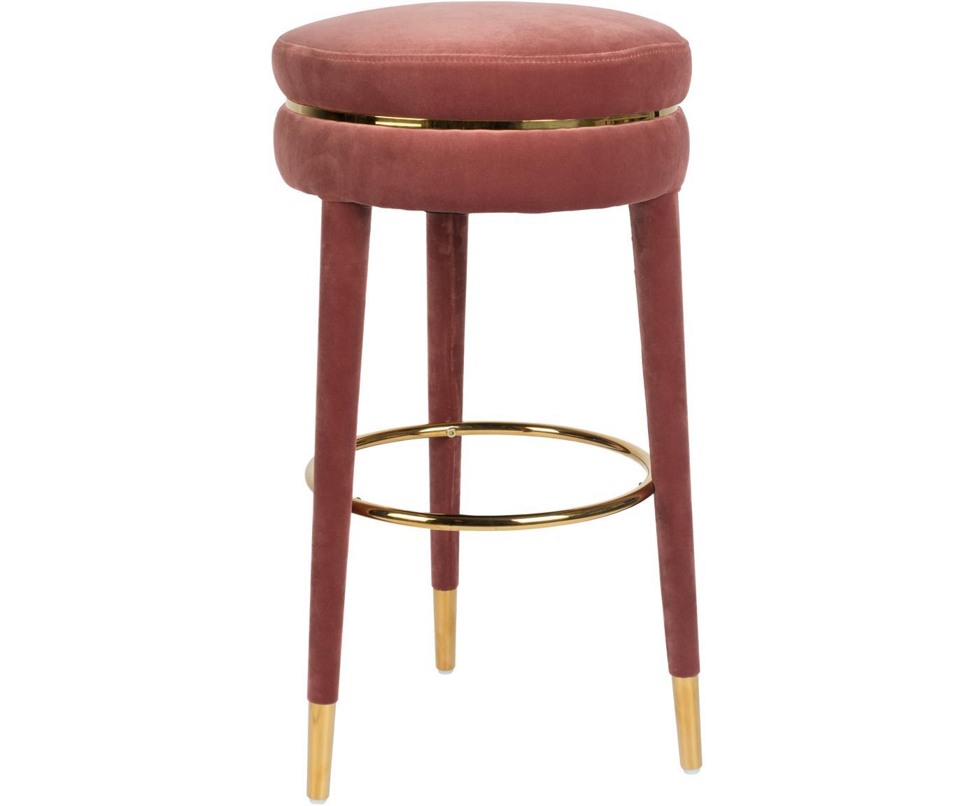 Stołek barowy z aksamitu I Am Not A Macaron, Tapicerka: aksamit poliestrowy 3000, Stelaż: drewno kauczukowe z z tap, Różowy, Ø 41 x W 78 cm