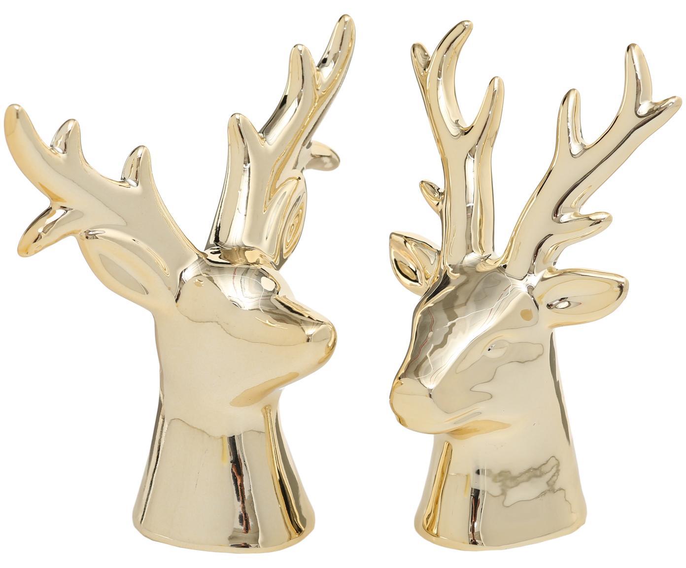 Set de figuras decorativas Thore, 2pzas., Porcelana, Dorado, An 10 x Al 11 cm