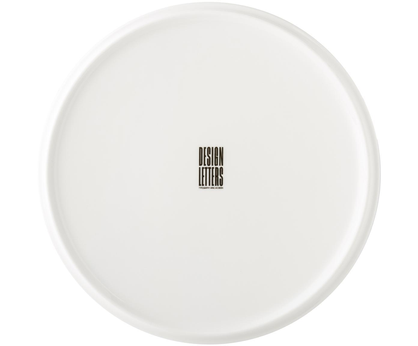 Design Frühstücksteller Personal mit Buchstaben (Varianten von A bis Z), Fine Bone China (Porzellan), Weiß, Schwarz, Teller A