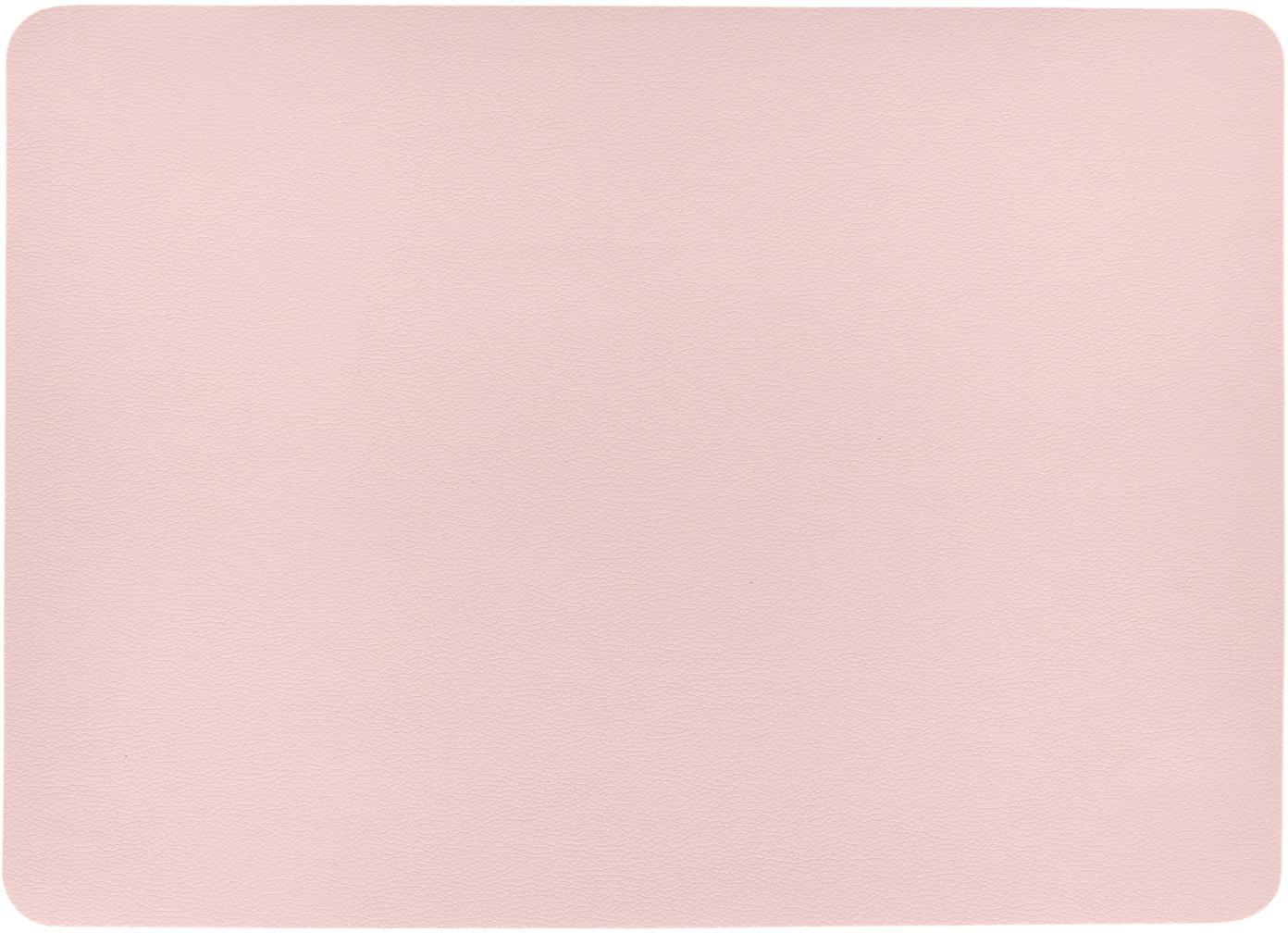 Manteles individuales de cuero sintético Pik, 2uds., Plástico (PVC) es aspecto de cuero, Rosa, An 33x L 46 cm