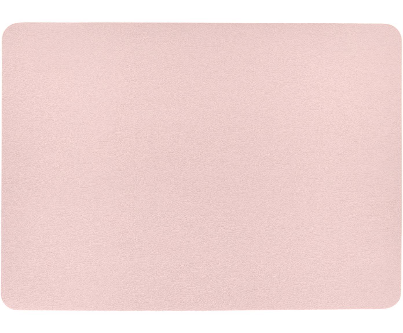 Kunststoffen placemats Pik van kunstleer, 2 stuks, Kunststof (PVC) van kunstleer, Roze, 33 x 46 cm
