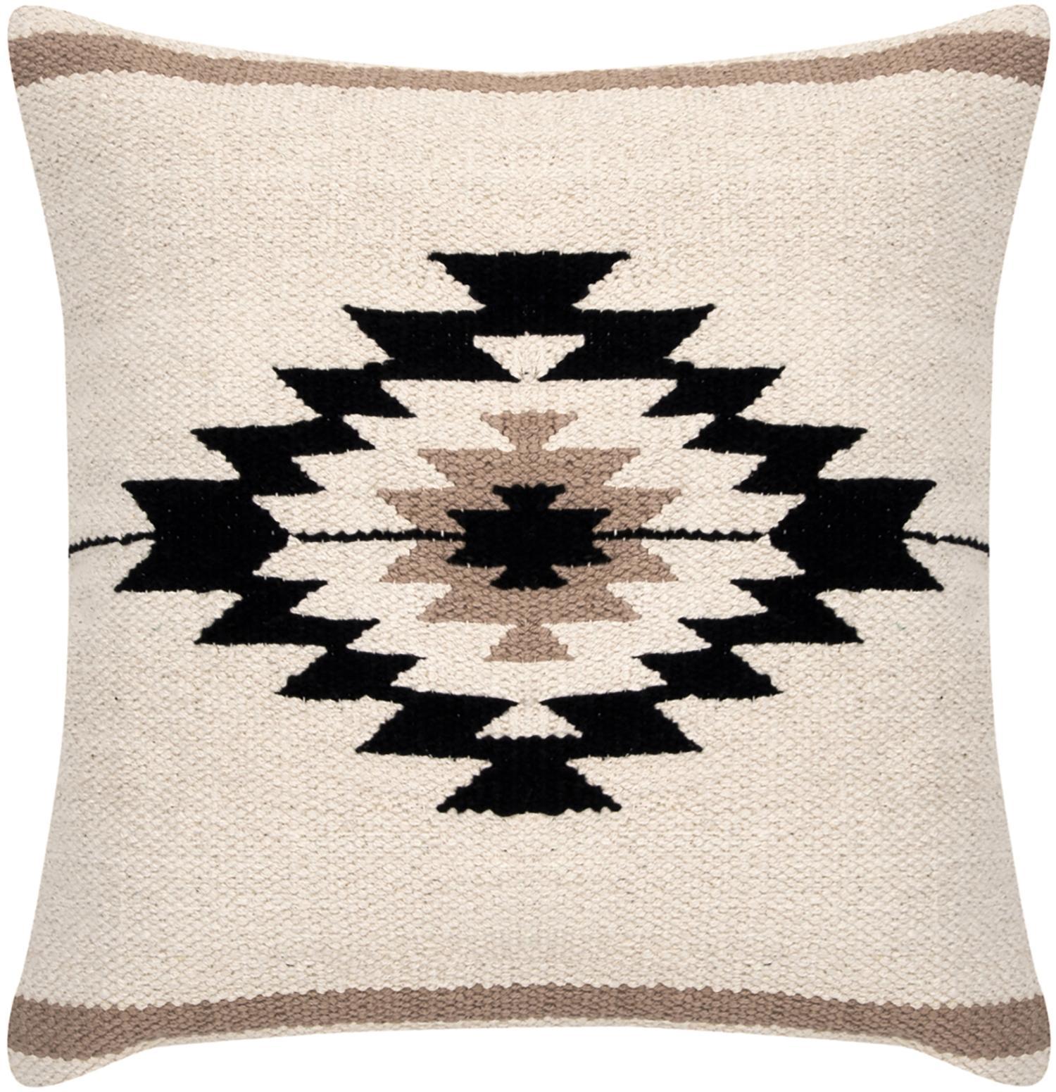Federa arredo etnica Toluca, Cotone, Nero, beige, taupe, Larg. 45 x Lung. 45 cm