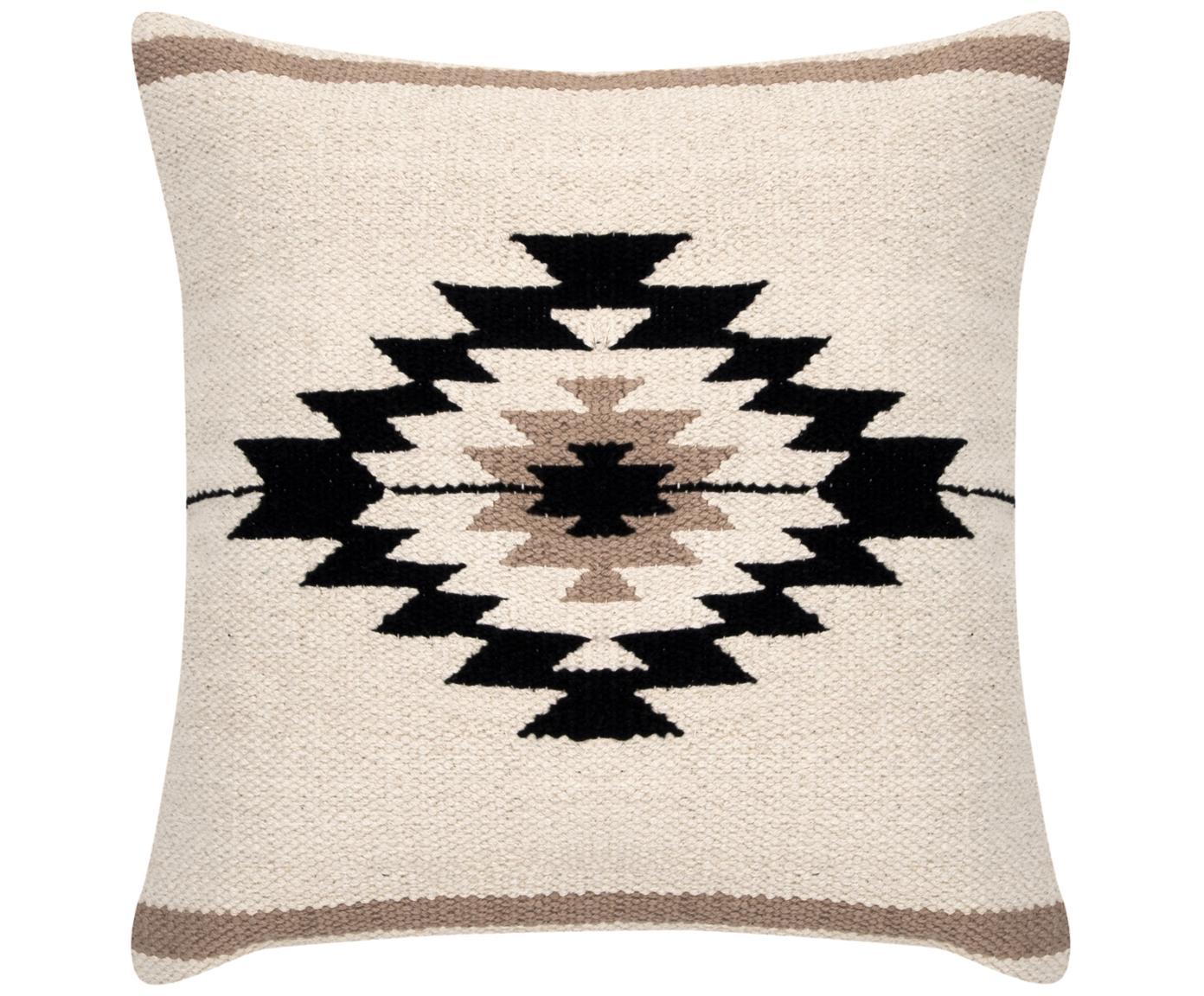 Funda de cojín Toluca, estilo étnico, Algodón, Negro, beige, gris pardo, An 45 x L 45 cm