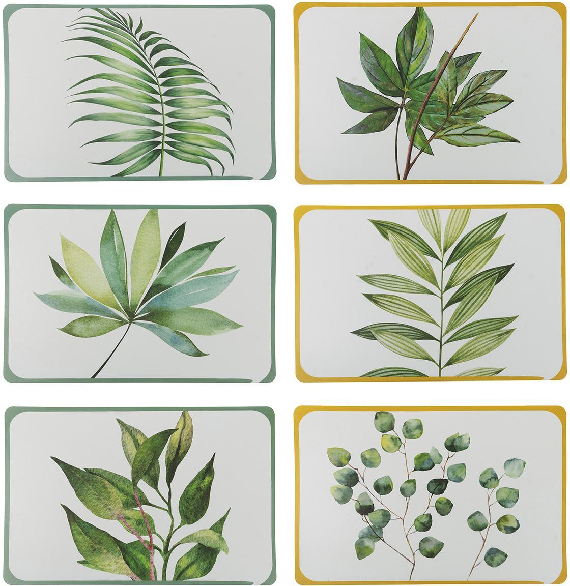 Placemats Botanique, 6-delig, Kunststof, Wit, groen, geel, B 45 x D 30 cm