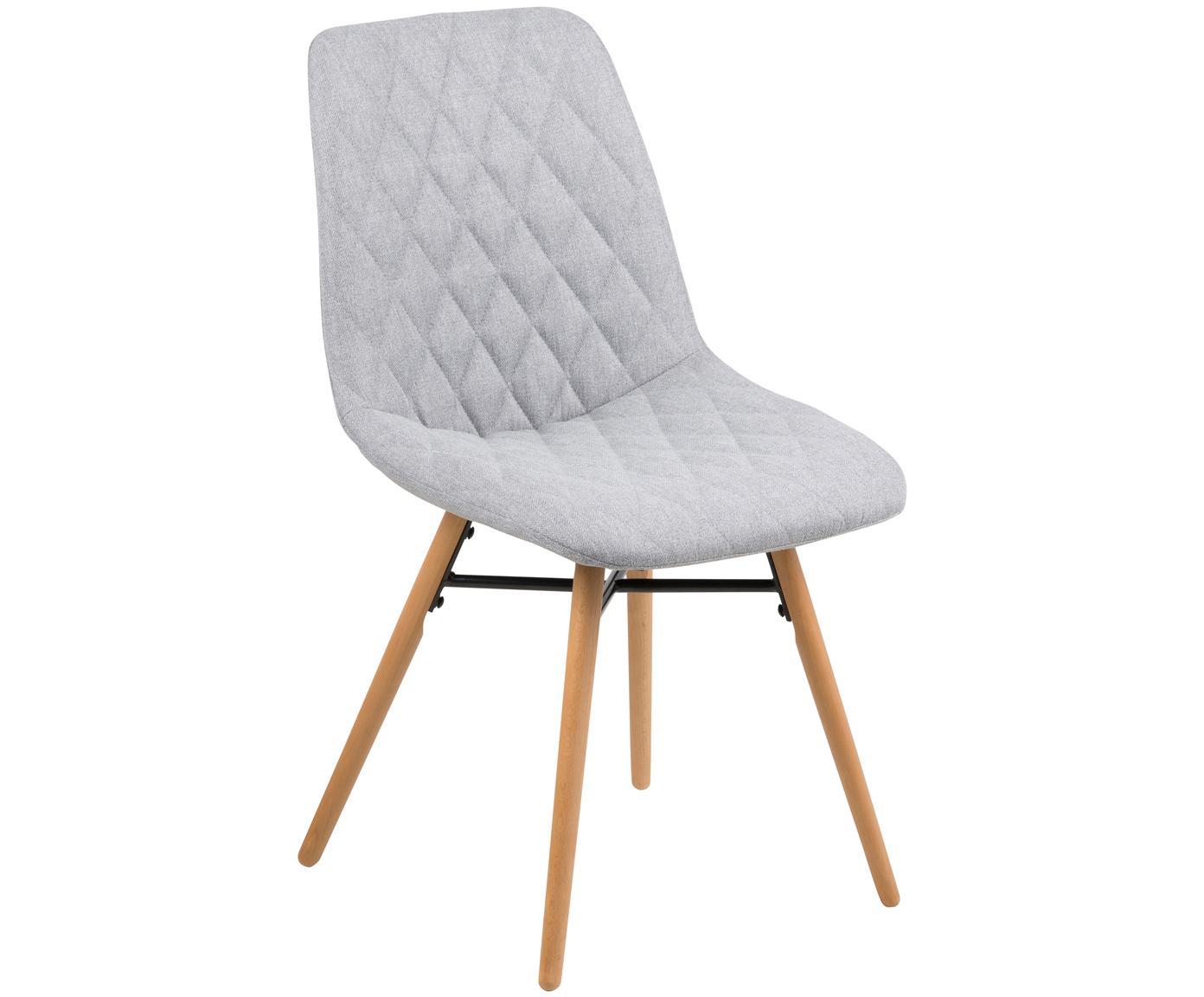 Krzesło tapicerowane Lif, 2 szt., Tapicerka: 100%poliester, Nogi: drewno bukowe, Tapicerka: jasny szary Nogi: drewno bukowe Wporniki: czarny, S 46 x W 85 cm