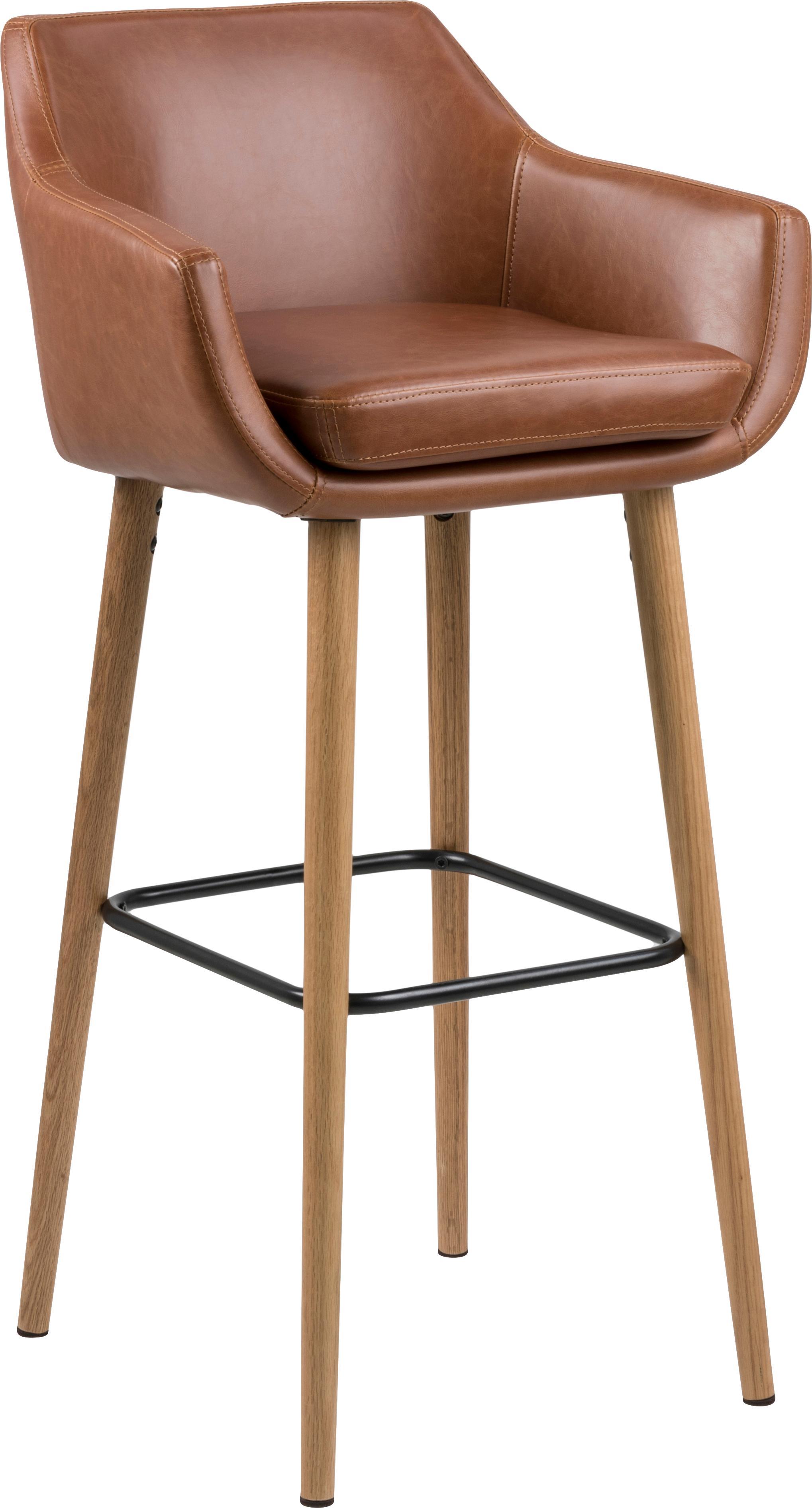 Sedia da bar Nora, Rivestimento: similpelle (poliuretano), Gambe: legno di quercia, trattat, Rivestimento: cognac Gambe: quercia Poggiapiedi: nero, Larg. 55 x Alt. 101 cm