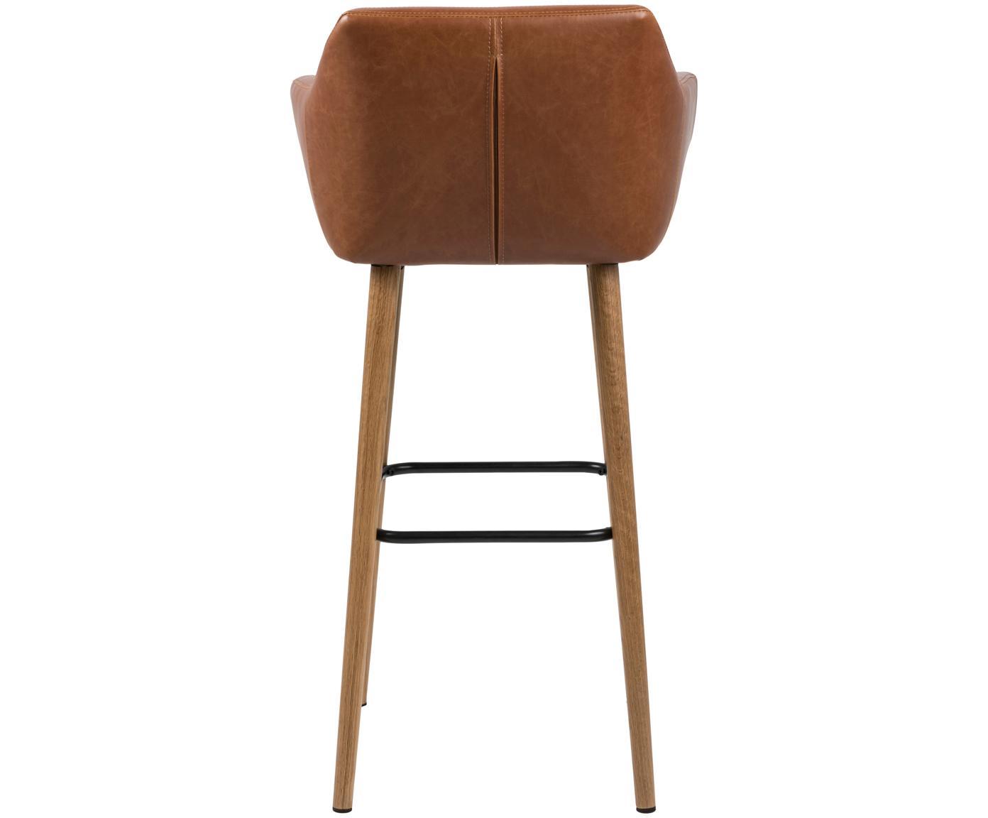 Krzesło barowe  Nora, Tapicerka: sztuczna skóra (poliureta, Nogi: drewno dębowe, olejowane, Tapicerka: koniakowy Nogi: drewno dębowe Podnóżek: czarny, S 55 x W 101 cm