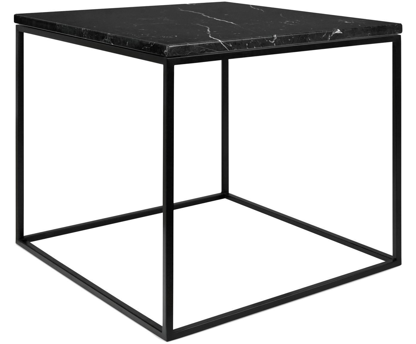 Marmeren bijzettafel Gleam, Tafelblad: marmer, Frame: gelakt staal, Tafelblad: gemarmerd zwart. Frame: zwart, 50 x 45 cm