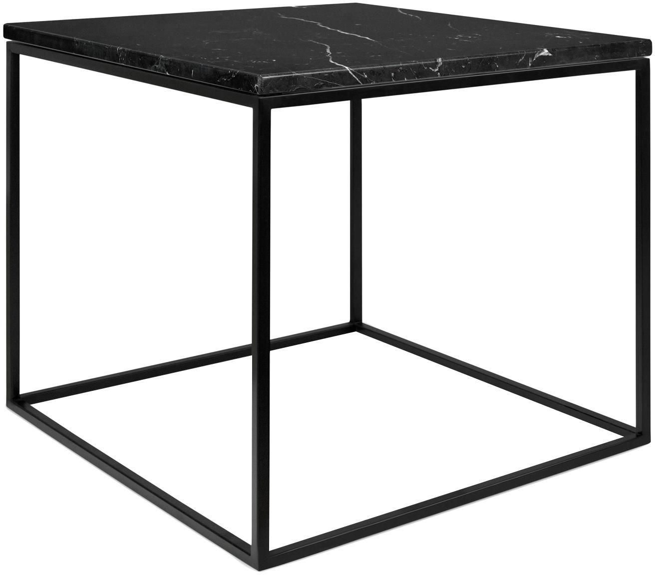 Marmor-Beistelltisch Gleam, Tischplatte: Marmor, Gestell: Stahl, lackiert, Tischplatte: Schwarz, marmoriert<br>Gestell: Schwarz, 50 x 45 cm