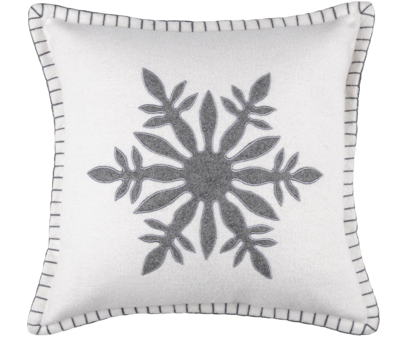 Kissen Vaujany mit Schneeflockenmotiv, mit Inlett, Bezug: 50% Baumwolle, 32% Wolle,, Gebrochenes Weiss, Grau, 40 x 40 cm