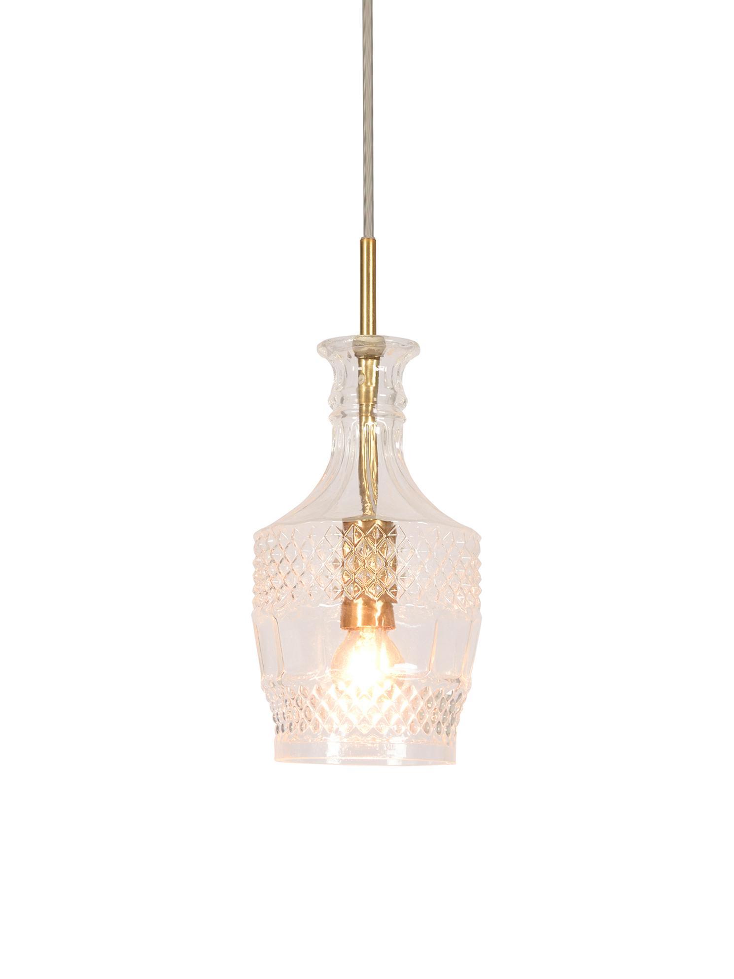 Kleine hanglamp Brussels van glas, Lampenkap: glas, Transparant, goudkleurig, Ø 13 x H 30 cm